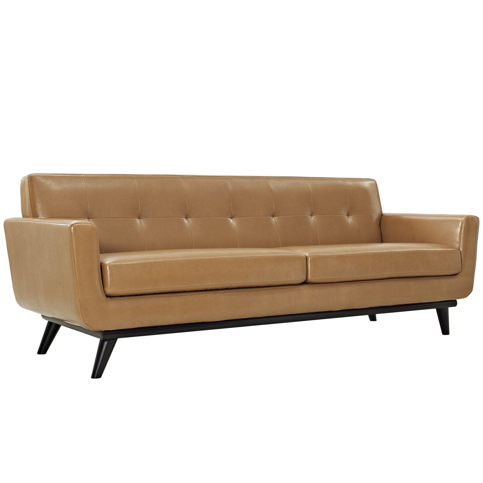 Engage Tan Leather Mid Century Sofa   Free Shipping Today   Overstock.com    16692931
