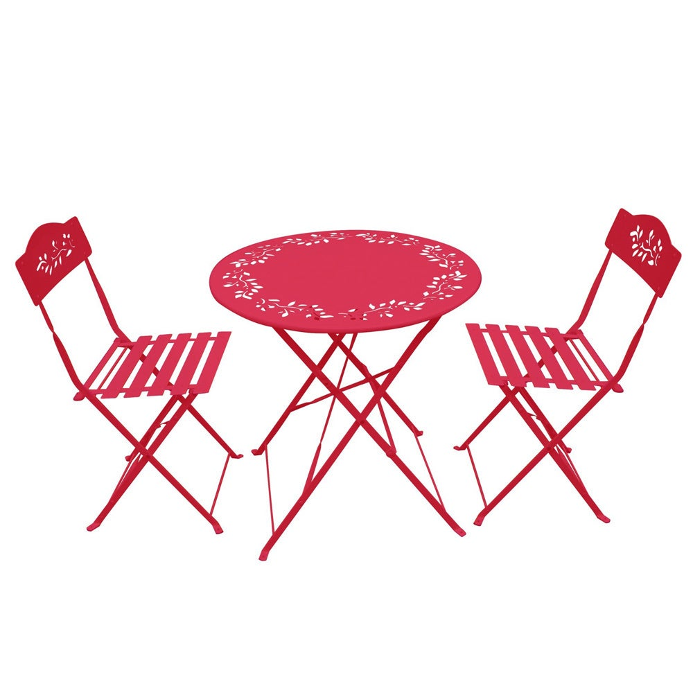 Shop Red Metal 3 Piece Bistro Set   Free Shipping Today   Overstock.com    9514507