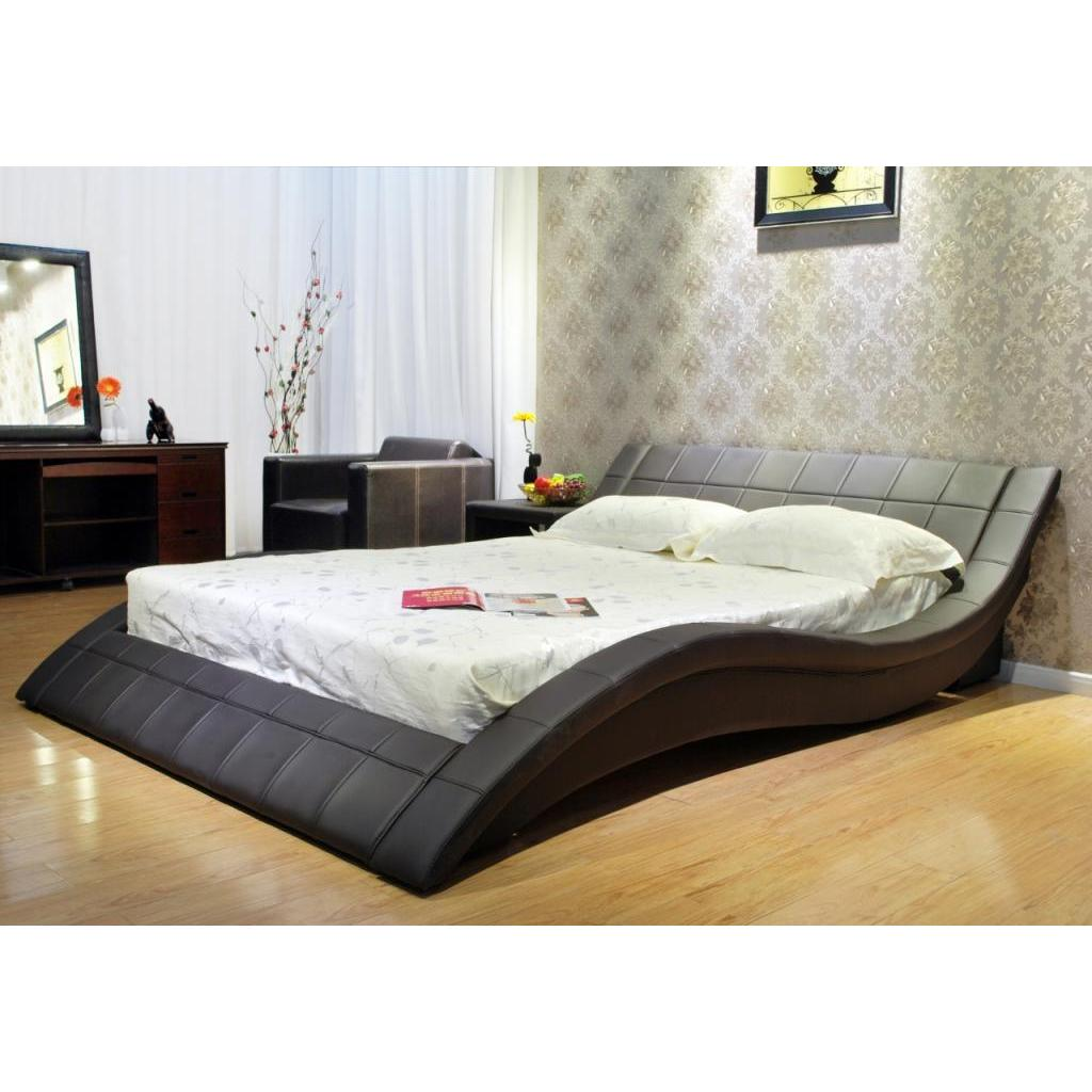 California King Wave-like Shape Upholstered Bed - Free Shipping ...