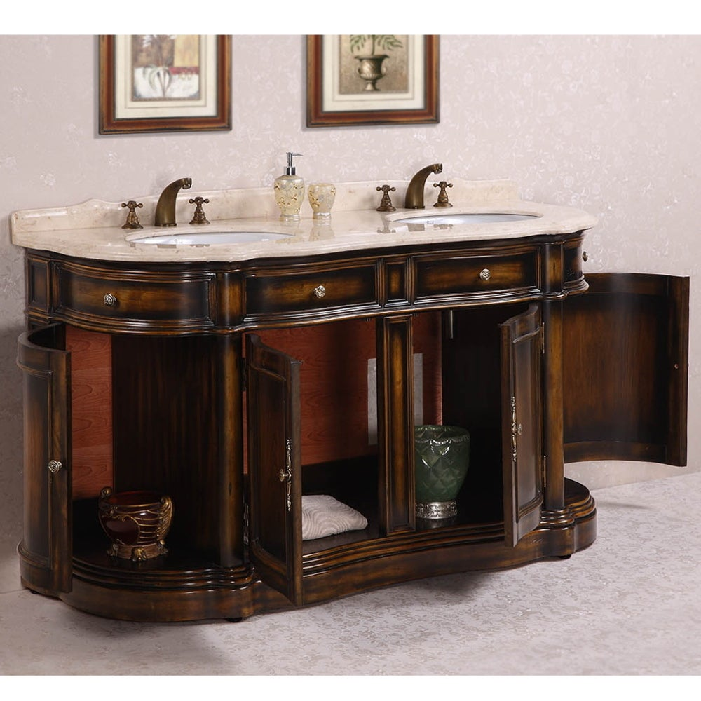Legion Furniture Myra Beige Marble Top 66 Inch Antique Brown Double Sink Bathroom Vanity Free Shipping Today 9514603