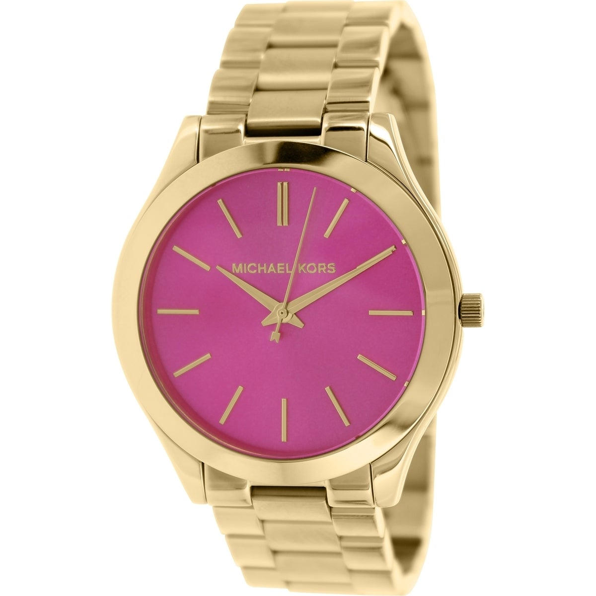 2634207b000 Shop Michael Kors Women's Slim Runway MK3264 Gold Stainless-Steel Quartz  Watch with Pink Dial - Free Shipping Today - Overstock - 9515236