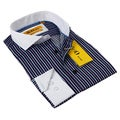 BriO Milano Men's Navy and Purple Striped Button-down Shirt