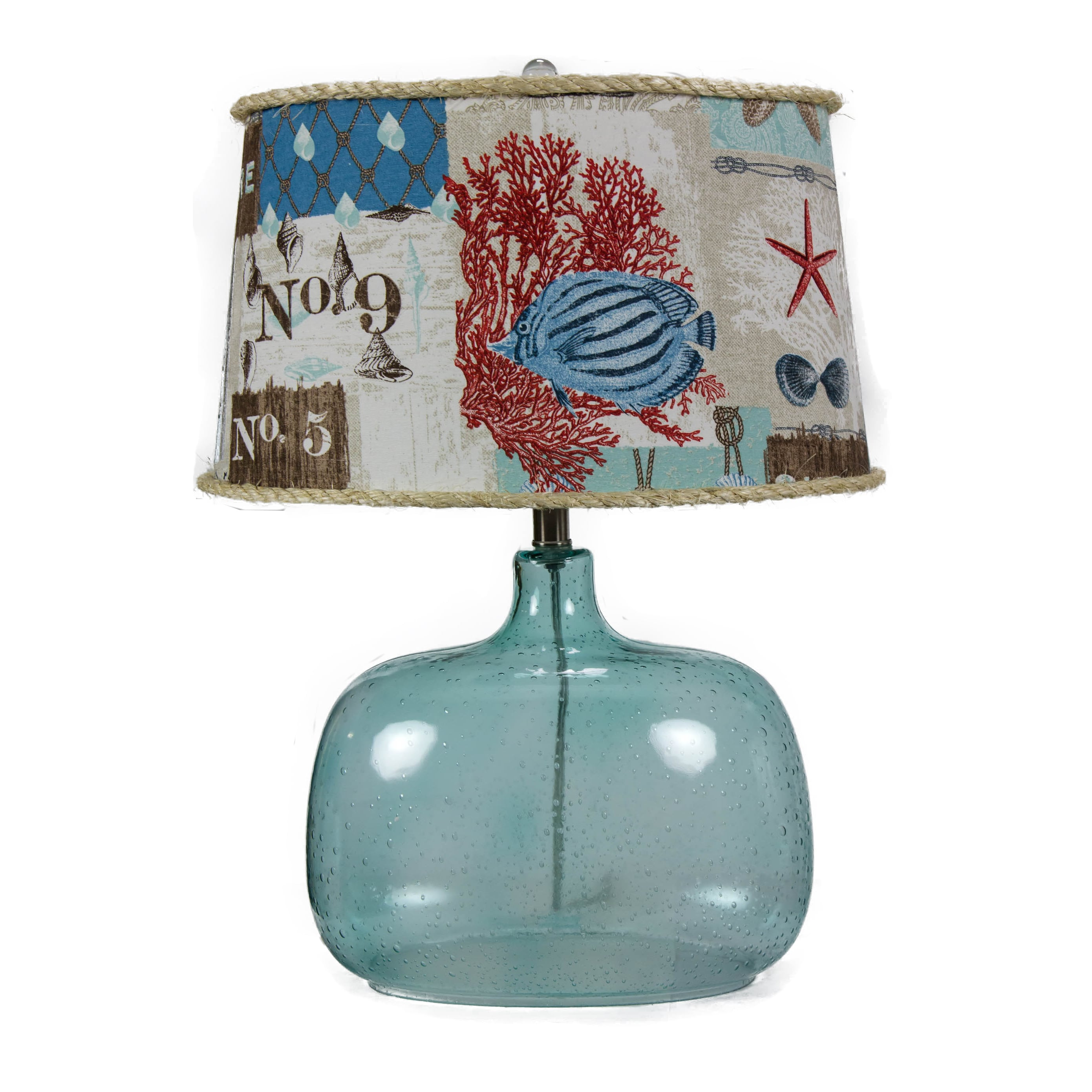 Shop Somette Spa Glass Nautical Patchwork Shade Table Lamp - Free ...