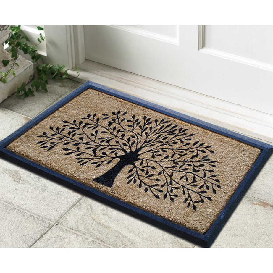 Hand-crafted Molded Rubber Coir Tree Double Door Mat (2'6 x 3'11 ...