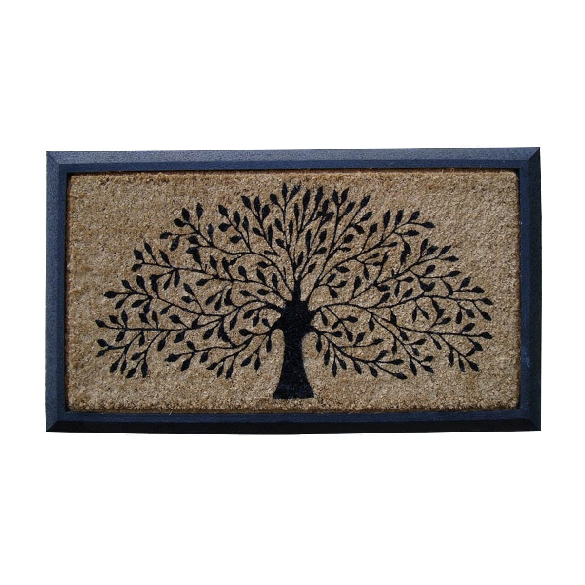 Hand-crafted Molded Rubber Coir Tree Double Door Mat (2'6 x 3'11) - Free  Shipping Today - Overstock.com - 16695956