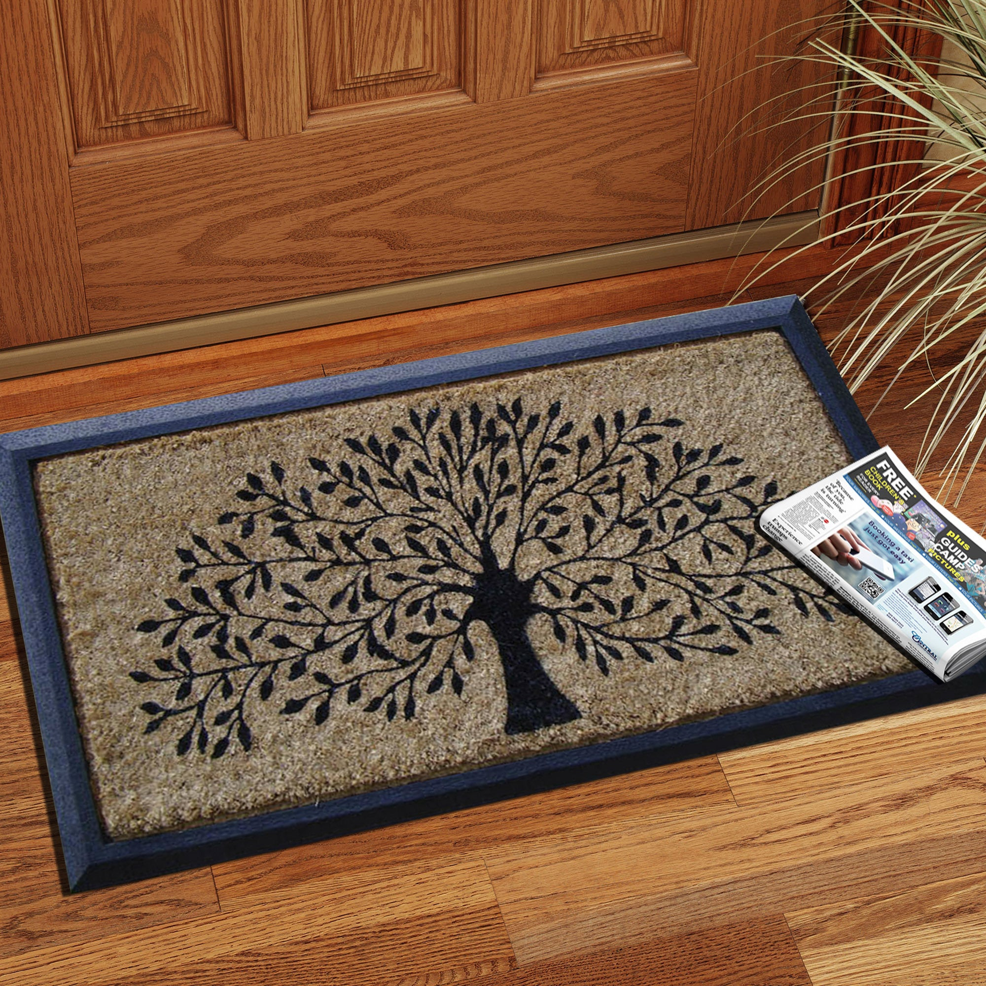Hand Crafted Molded Rubber Coir Tree Double Door Mat 2 6 X 3 11 Free Shipping Today 9517703