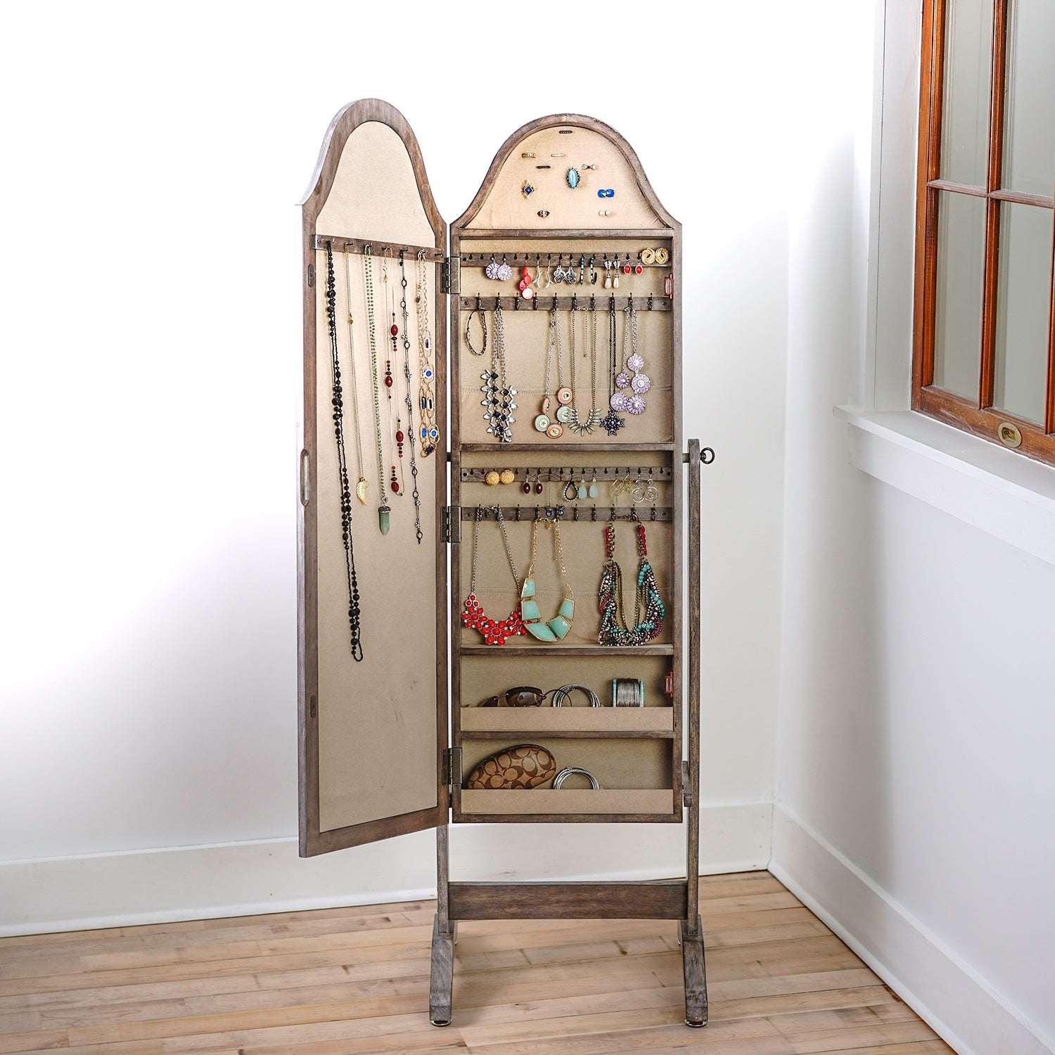 Hives U0026 Honey Bell Shape Full Length Mirror With Jewelry Storage   Free  Shipping Today   Overstock   16696037