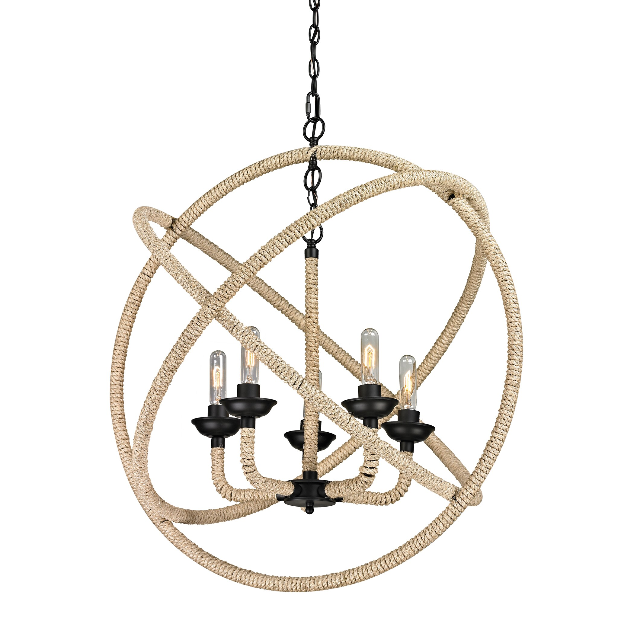 Elk lighting pearce 5 light matte black and rope chandelier