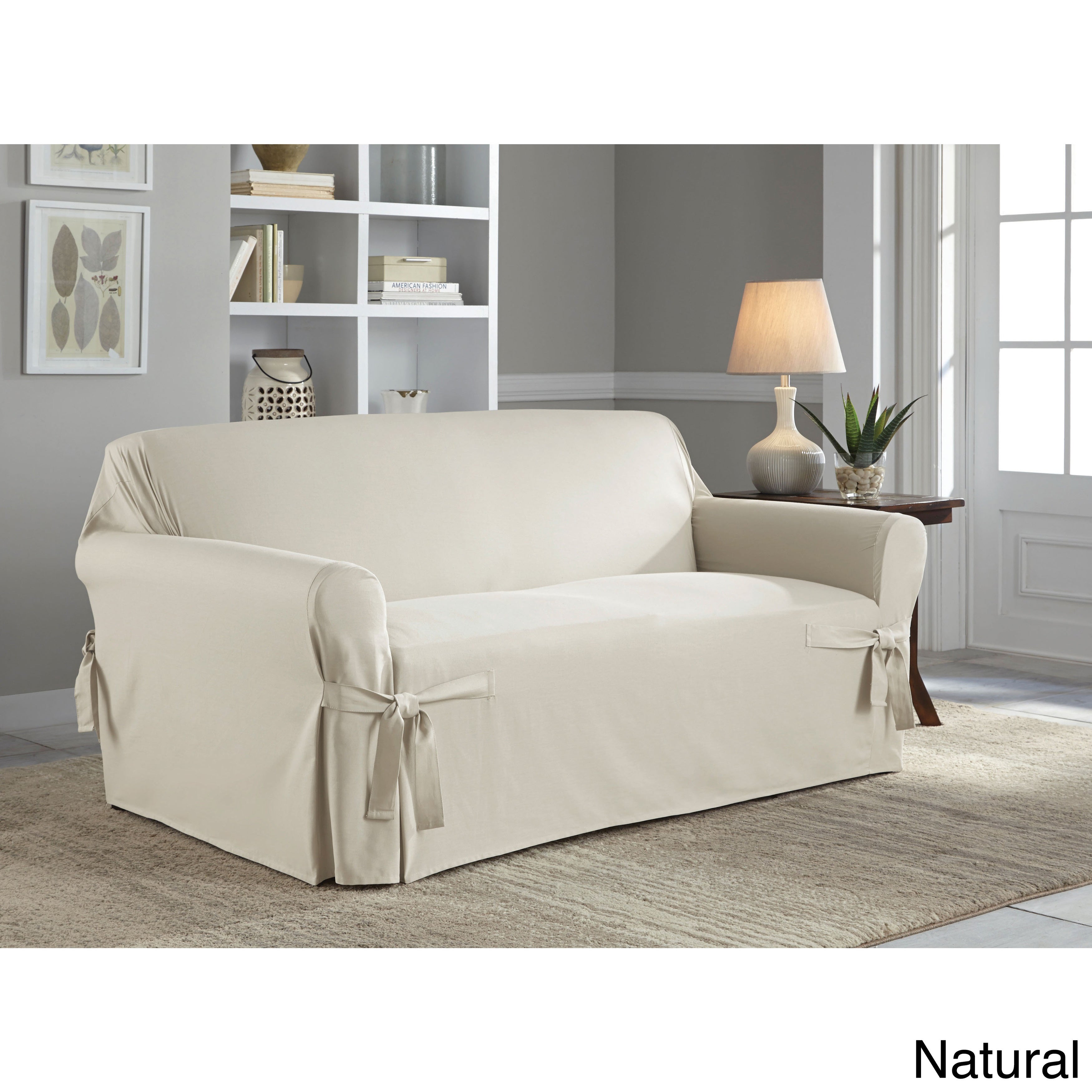 Tailor Fit Relaxed Cotton Duck Loveseat Slipcover On Free Shipping Today 9517971