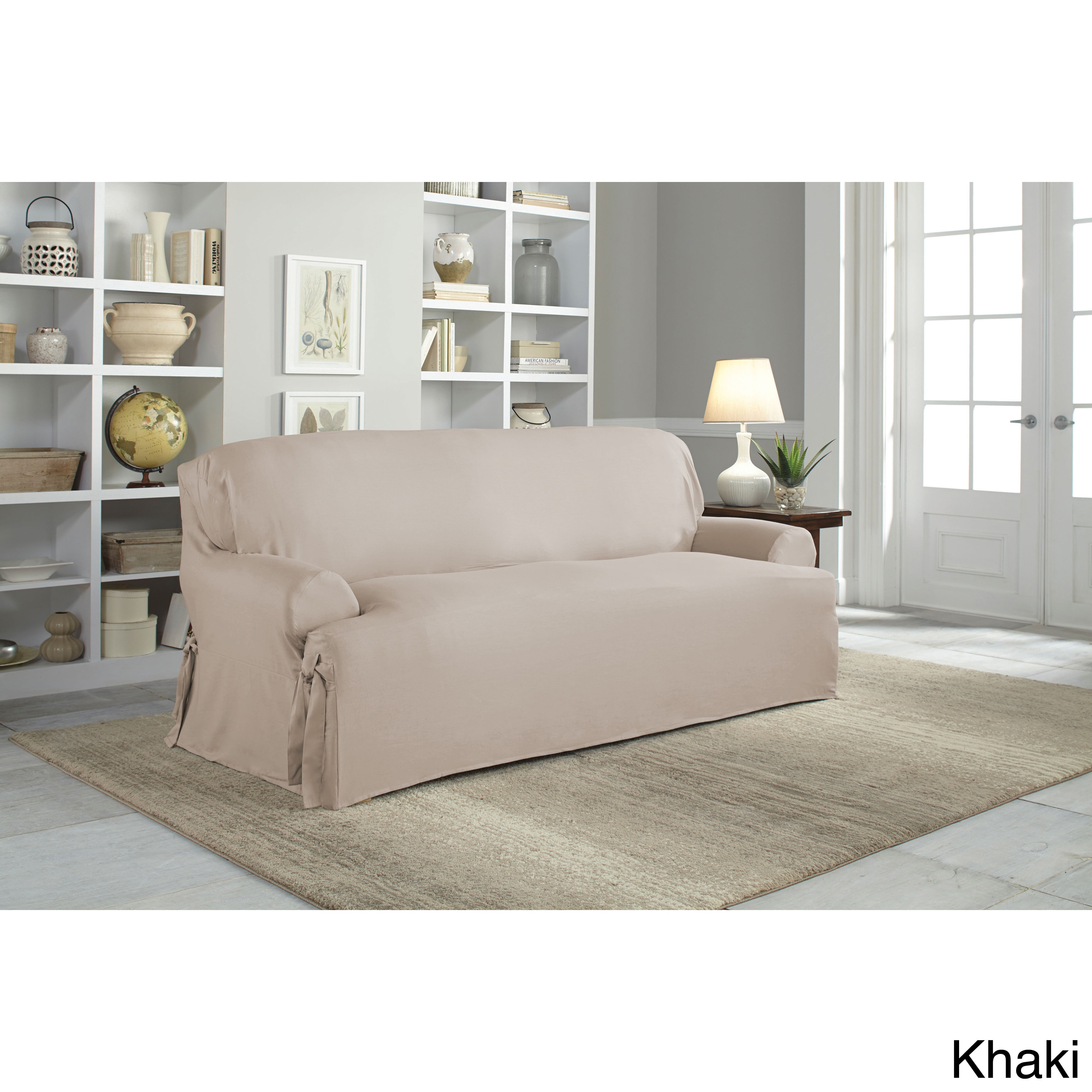 Shop Tailor Fit Relaxed Fit Cotton Duck T Cushion Sofa Slipcover   Free  Shipping Today   Overstock.com   9517977