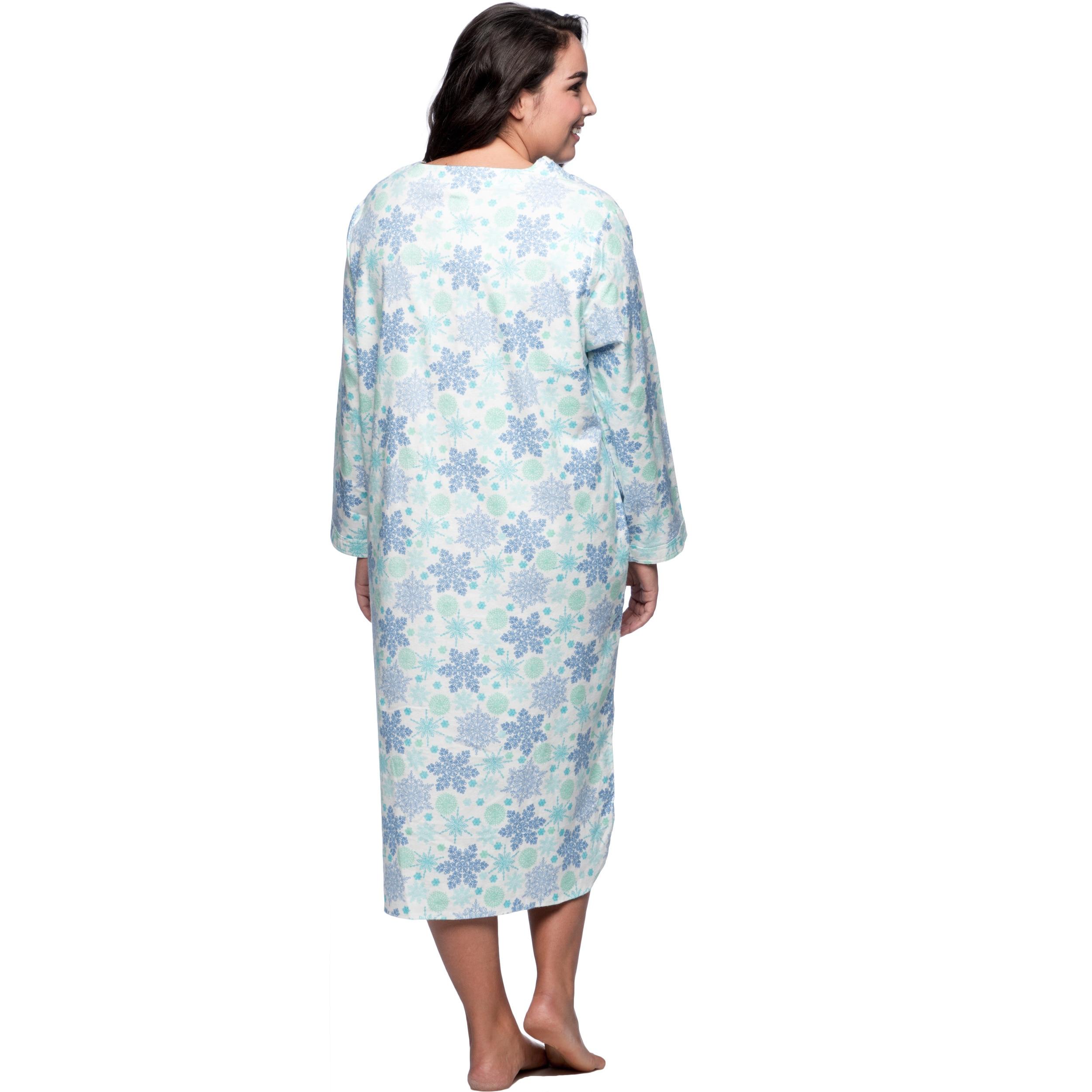 Shop La Cera Women\'s Plus Size Snowflake Pull-over Flannel Gown ...