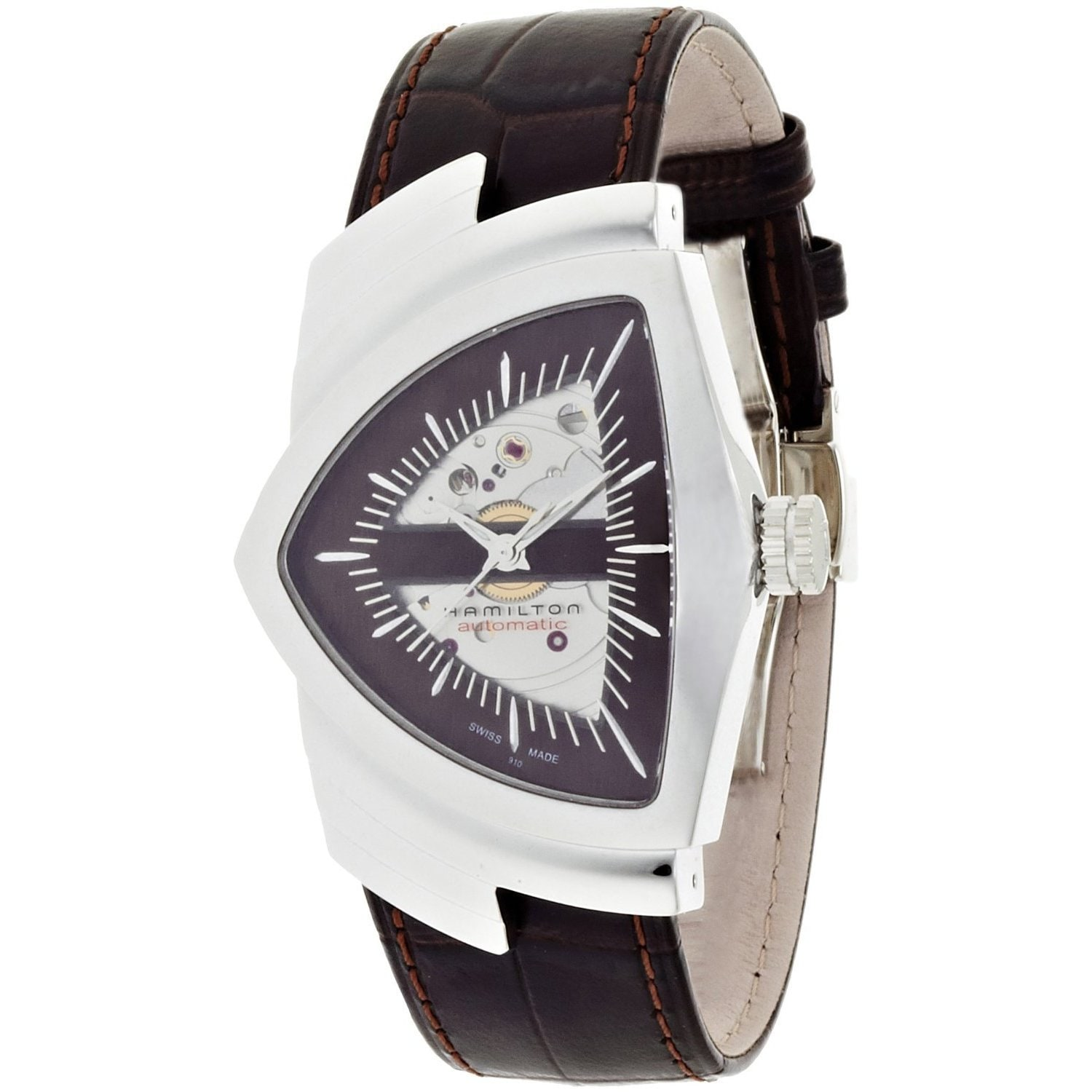 3acdc73db5e Shop Hamilton Men's Ventura Brown Leather Skeleton Watch - Free Shipping  Today - Overstock - 9521733