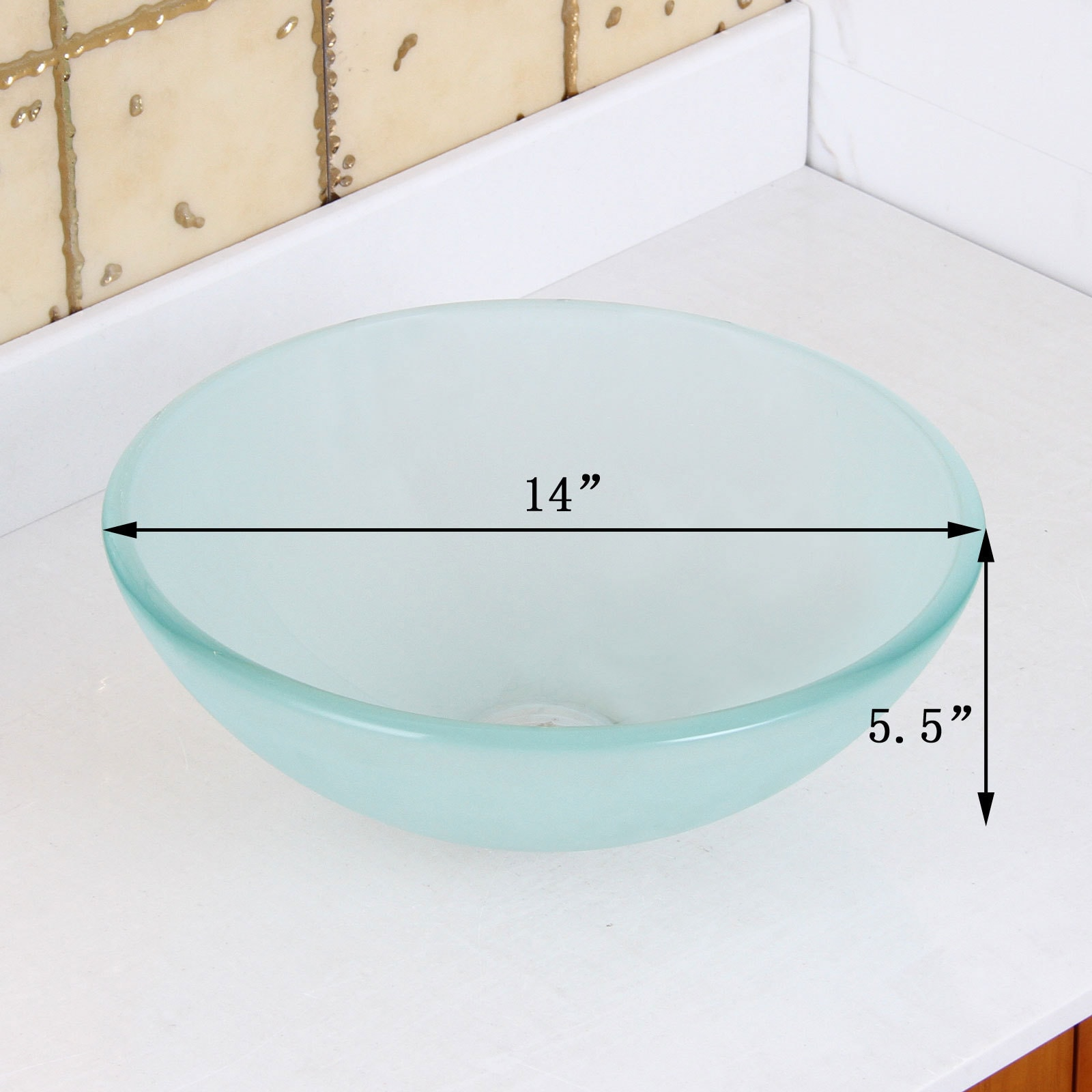 Elite GD08S/ F22T Small Frosted Tempered Glass Bathroom Vessel Sink ...