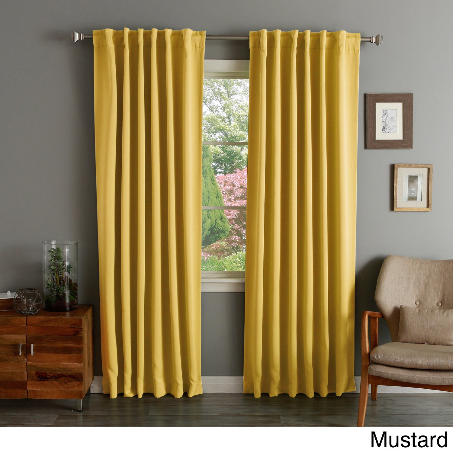 Shop Solid Insulated Thermal Blackout Curtain Panel Pair