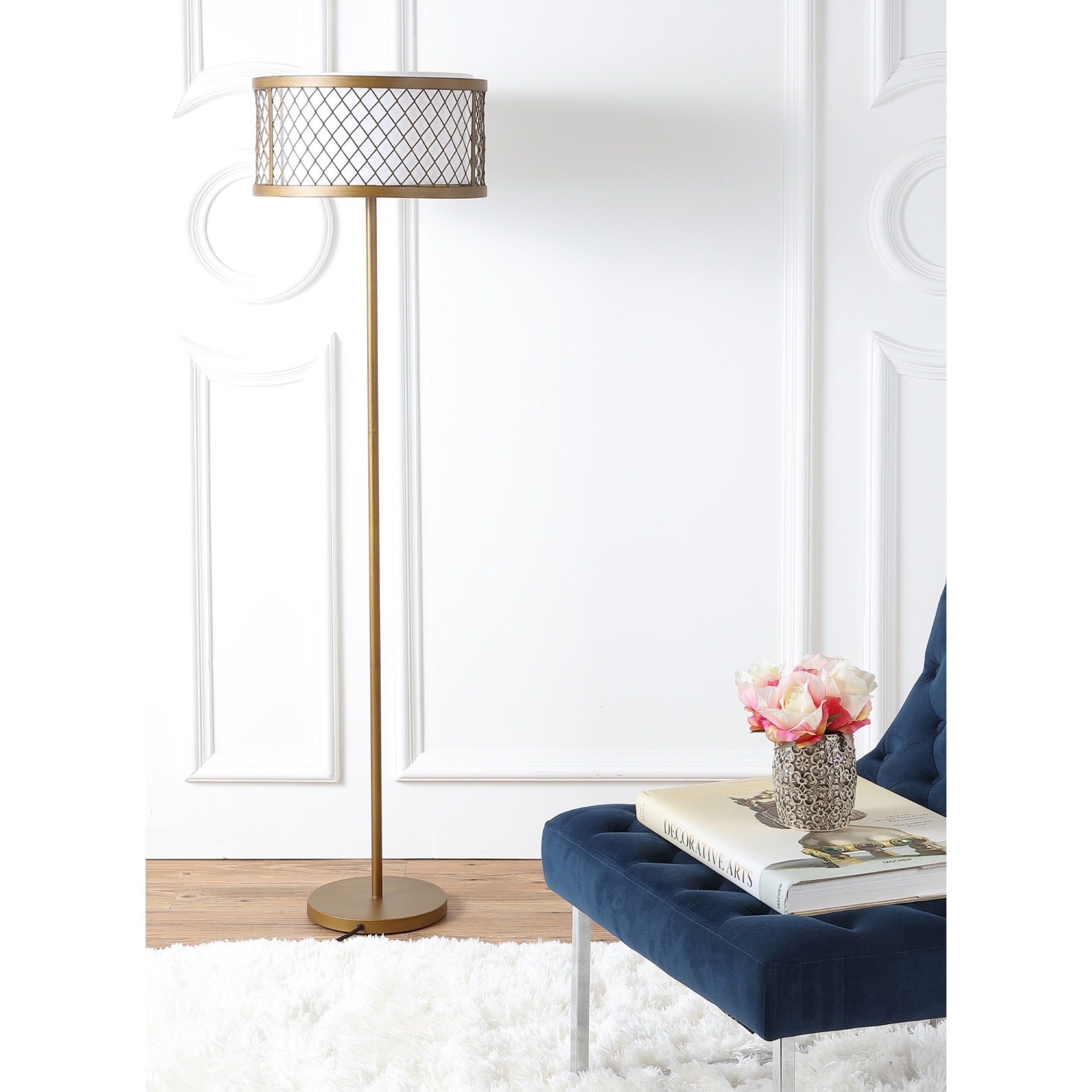Safavieh Lighting 58 25 inch 2 light Evie Mesh Gold Floor Lamp
