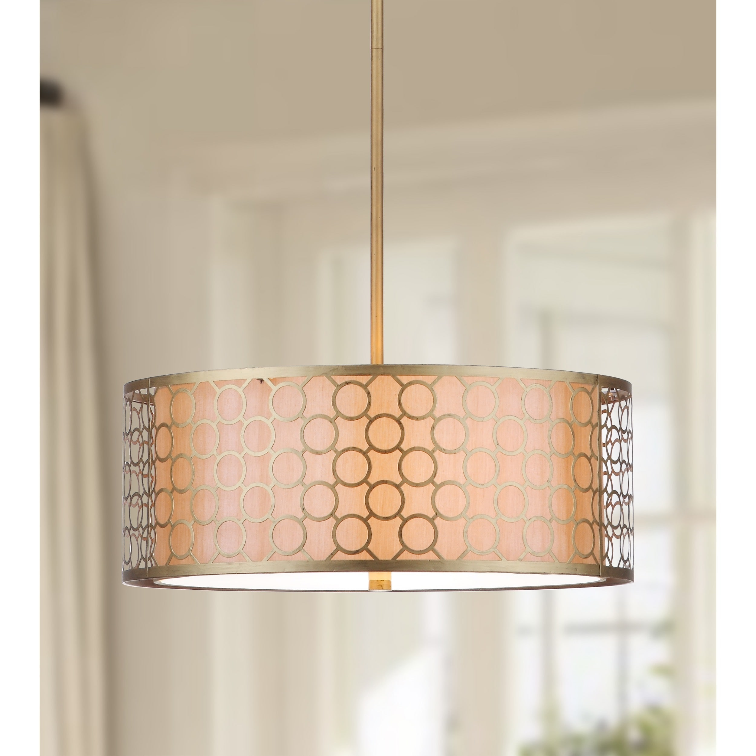 Safavieh Lighting 18 Inch Adjule 3 Light Giotta Gold Drum Pendant Lamp On Free Shipping Today 9525187