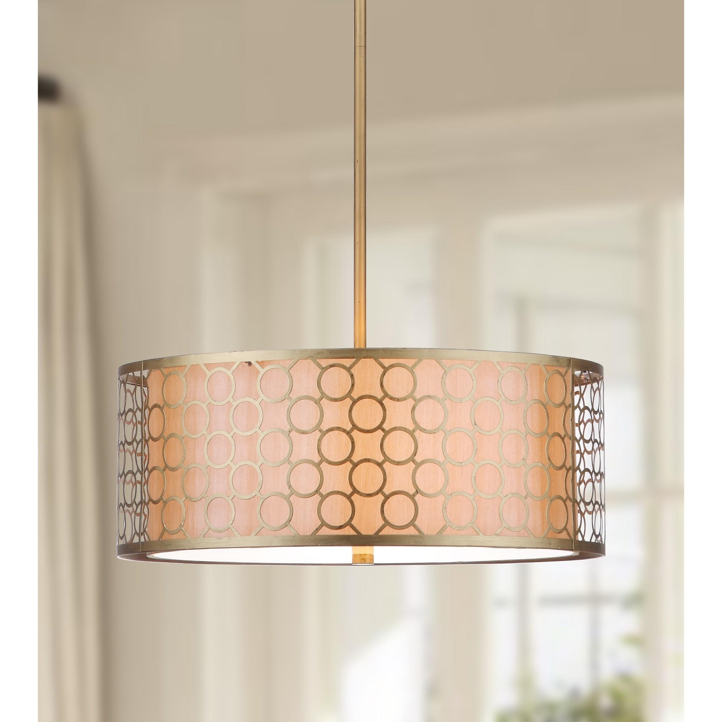 Safavieh Lighting 18 Inch Adjustable 3 Light Giotta Gold Drum