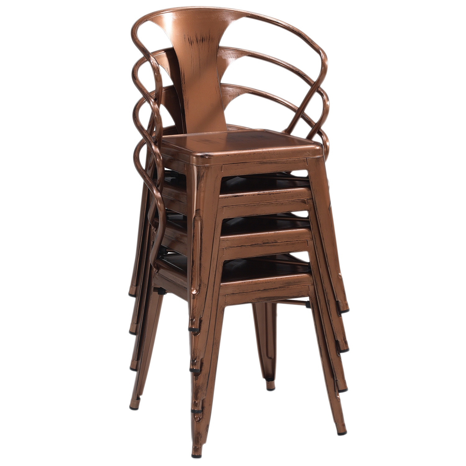 Shop Tabouret Brushed Copper Tabouret Stacking Chairs (Set Of 4)   Free  Shipping Today   Overstock.com   9526577