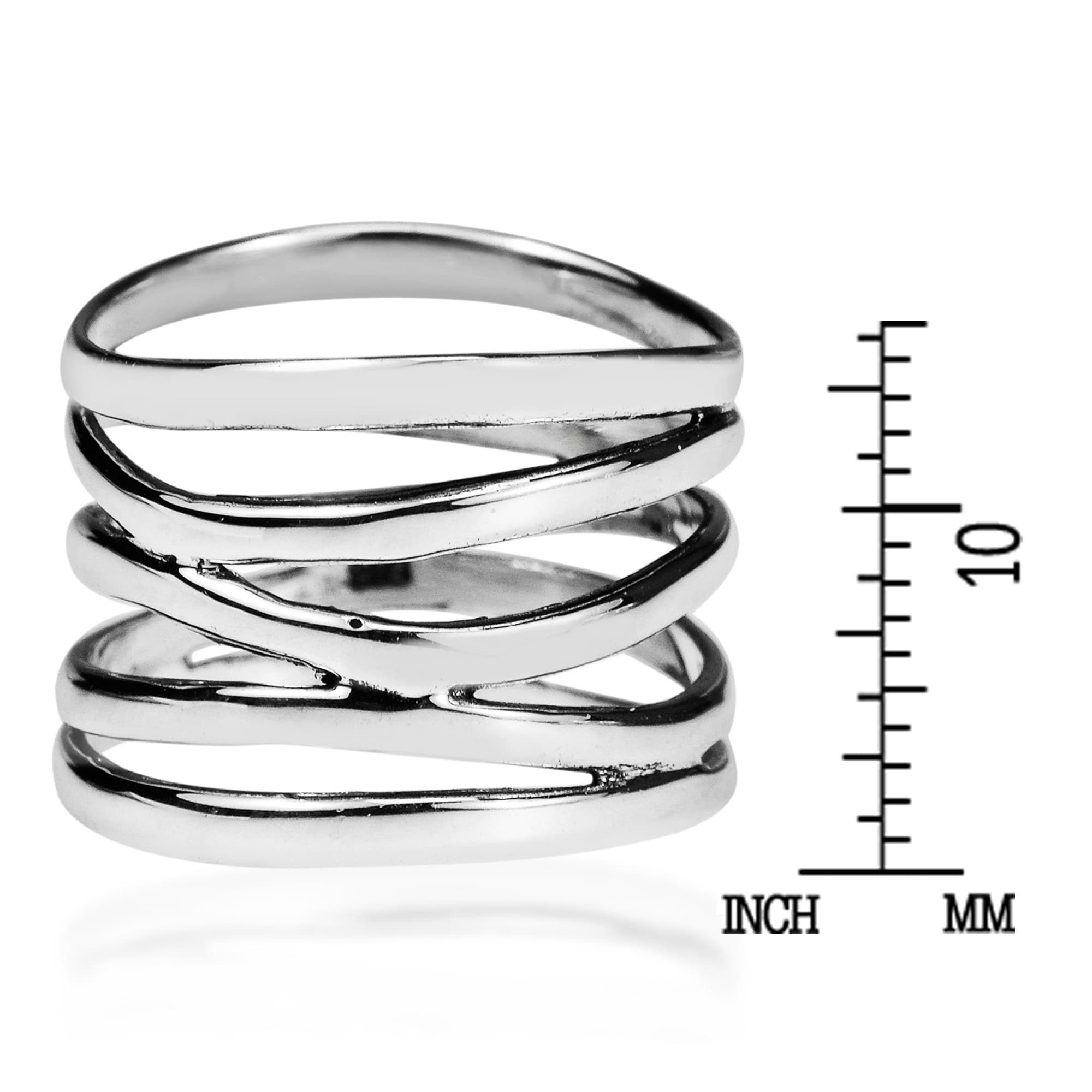 a0414aca7c6a7 Handmade Wide Five Band Coil Wrap Sterling Silver Ring (Thailand)