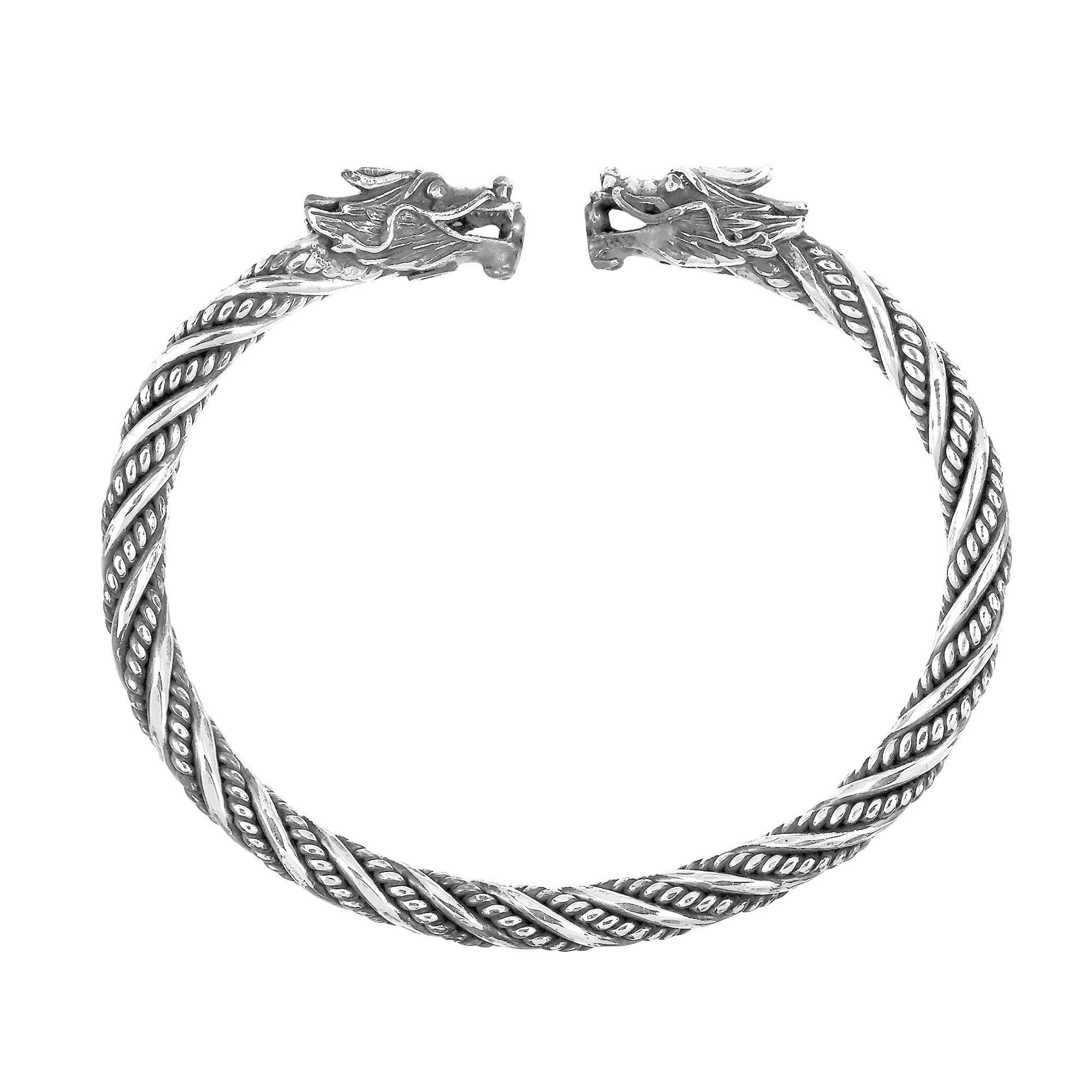 64e4f3d3aac1b Shop Handmade Ancient Double Dragon Head Wrap .925 Sterling Silver Cuff  Bracelet (Thailand) - On Sale - Free Shipping Today - Overstock - 9527200