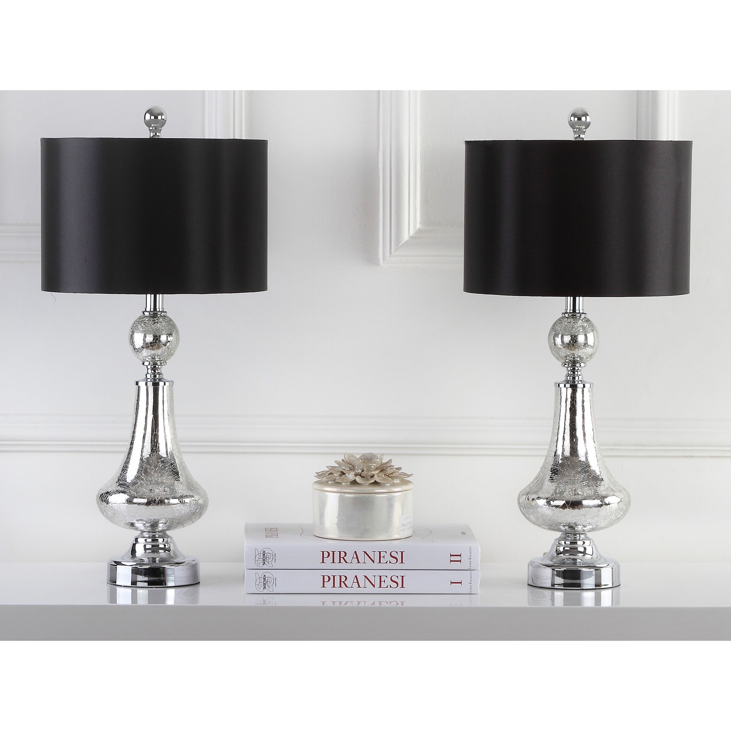 Shop safavieh lighting mercury crackle glass and silver chrome 255 shop safavieh lighting mercury crackle glass and silver chrome 255 inch table lamps with black satin drum shades set of 2 on sale free shipping today aloadofball Gallery