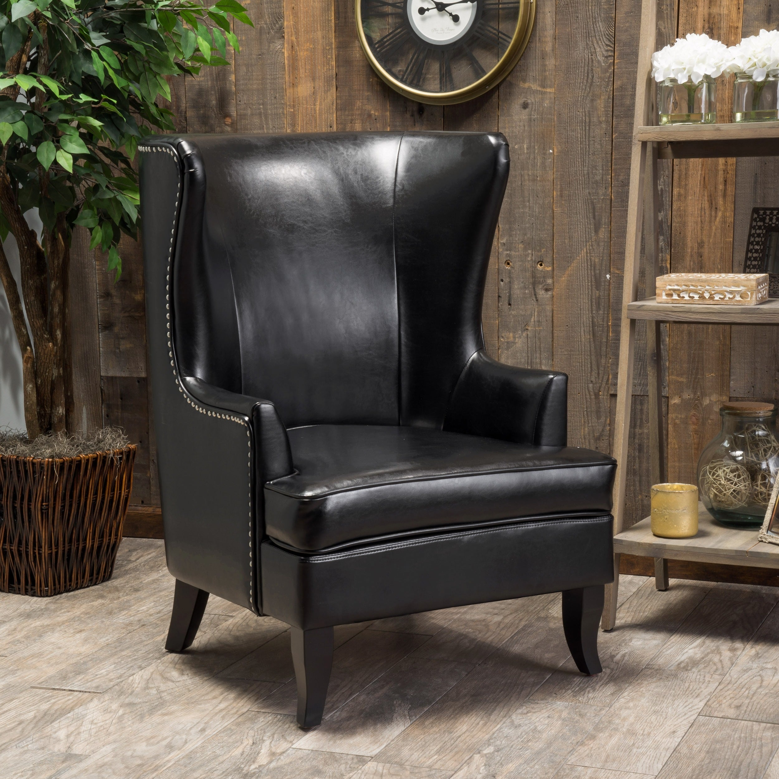 Shop Canterburry High Back Bonded Leather Wing Chair By Christopher Knight  Home   On Sale   Free Shipping Today   Overstock.com   9530236