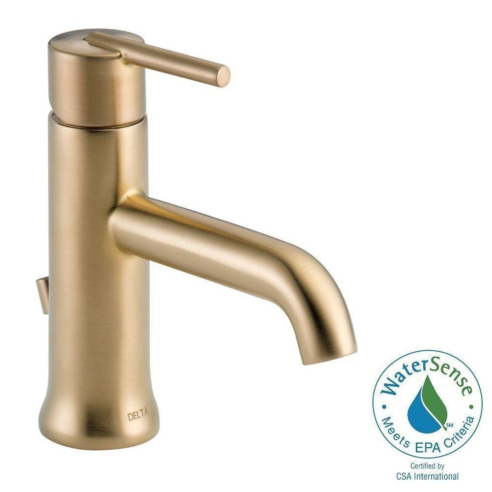 Delta Trinsic Single Handle Bathroom Faucet 559LF-CZMPU Champagne ...
