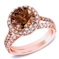 Auriya 14k Rose Gold 1ct TDW Brown Round Diamond Halo Bridal Ring Set