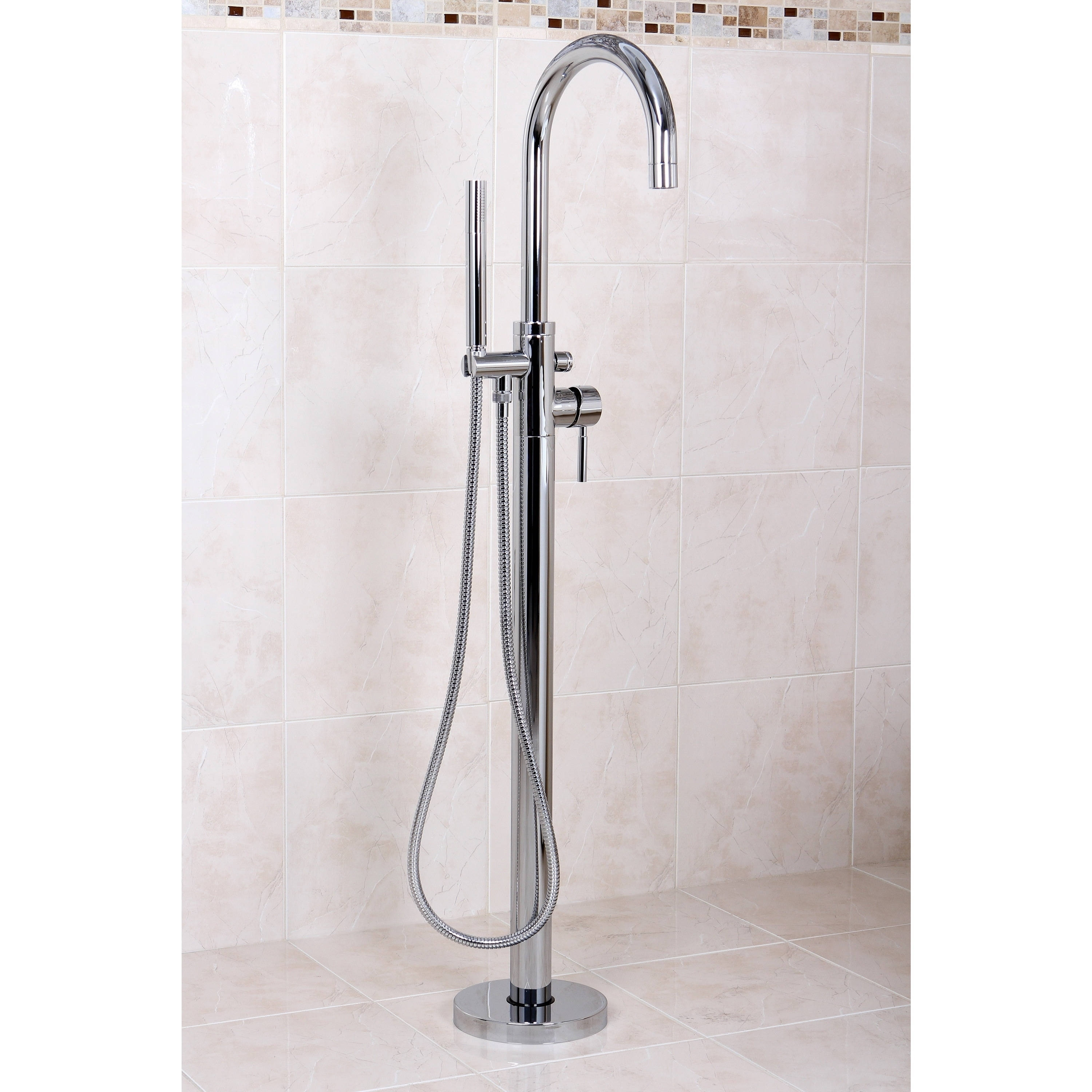 Floor Mount Chrome Tub Filler with Hand Shower - Free Shipping Today ...