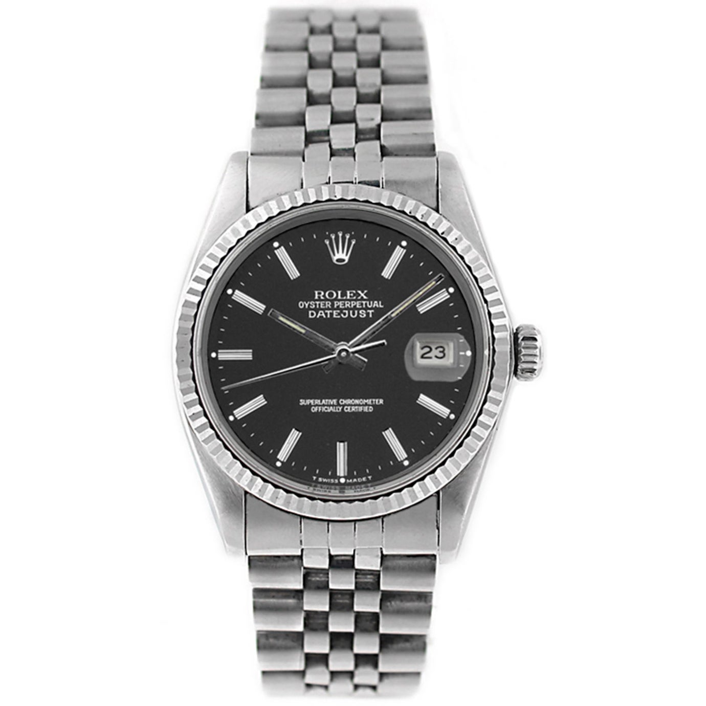 a0dcfd4bf12 Pre-Owned Rolex Men s Datejust 16014 Stainless Steel and White Gold Black  Stick Watch