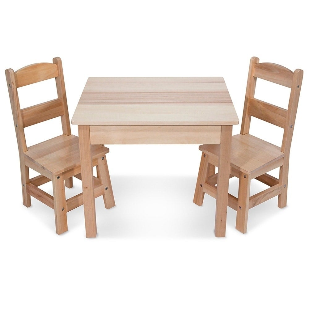 Shop Melissa U0026 Doug Childrenu0027s Natural Brown Wooden Table And Chairs Set    Free Shipping Today   Overstock.com   9536119