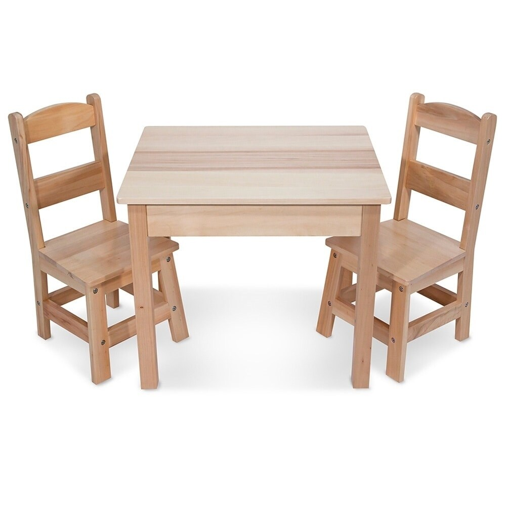 Melissa Doug Children S Natural Brown Wooden Table And Chairs Set Free Shipping Today 9536119