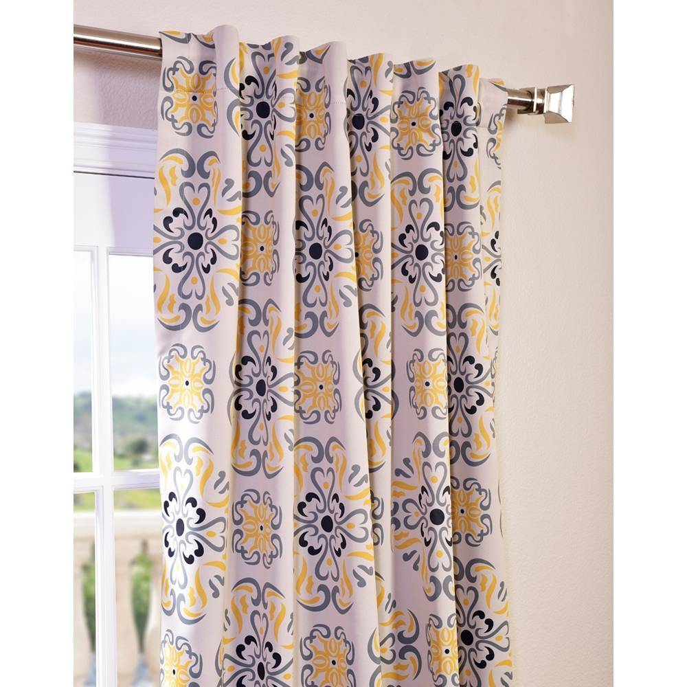Shop Exclusive Fabrics Soliel Yellow Grey Damask Blackout Curtain Panel Pair