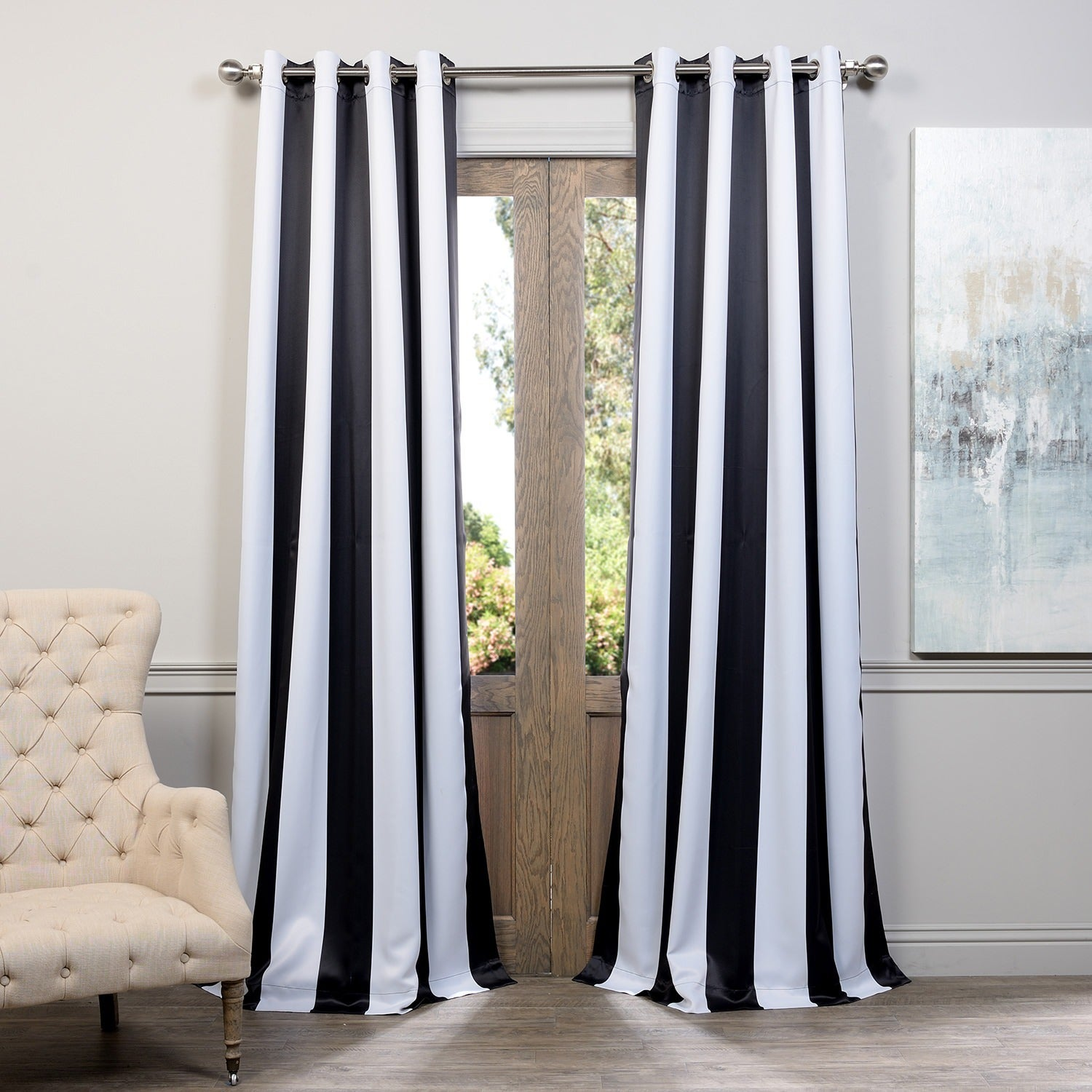 overstock today curtain striped pair product home grommet blackout shipping garden top panel aurora free dupioni curtains