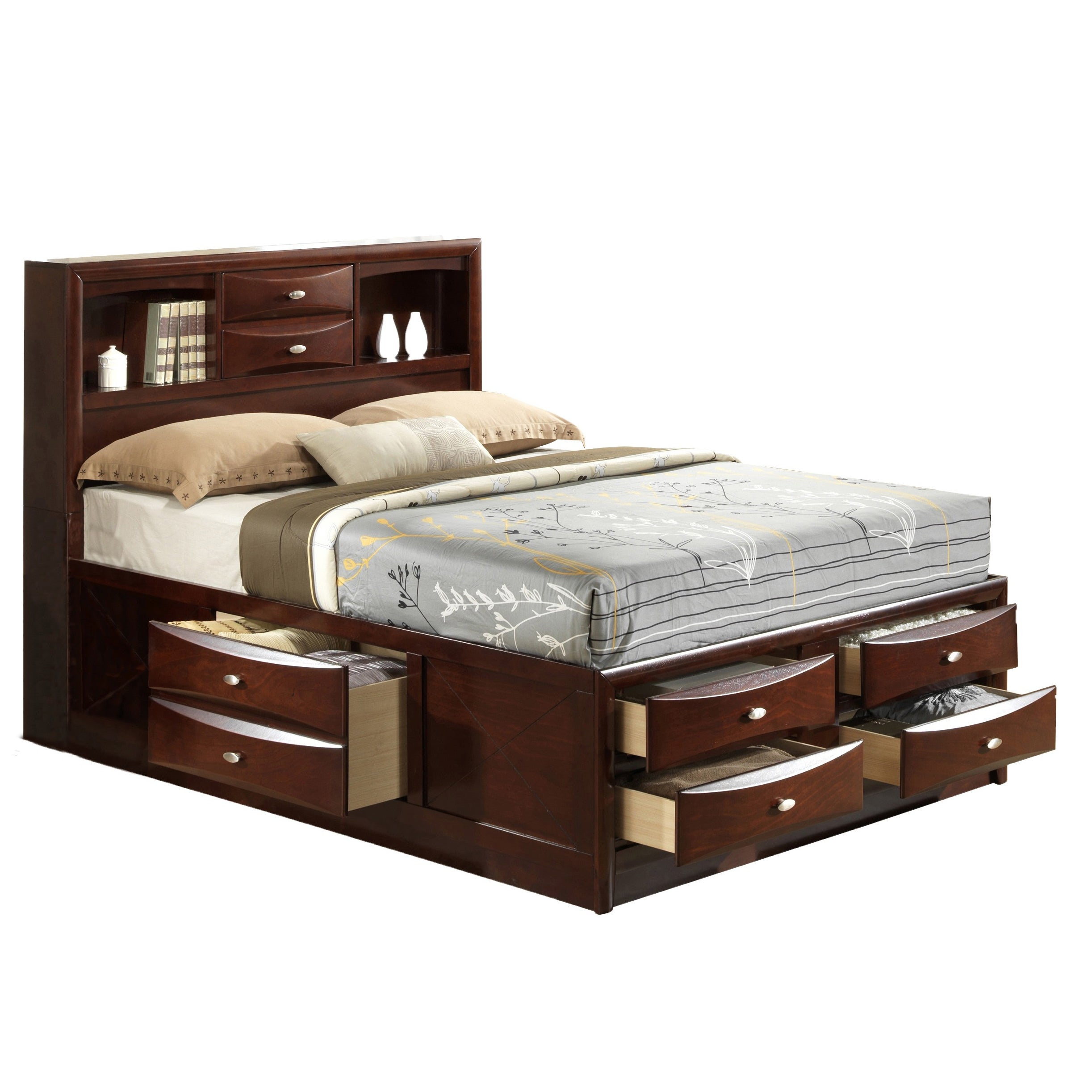with queen drawers size product garden home shipping beds storage linda free today bed merlot