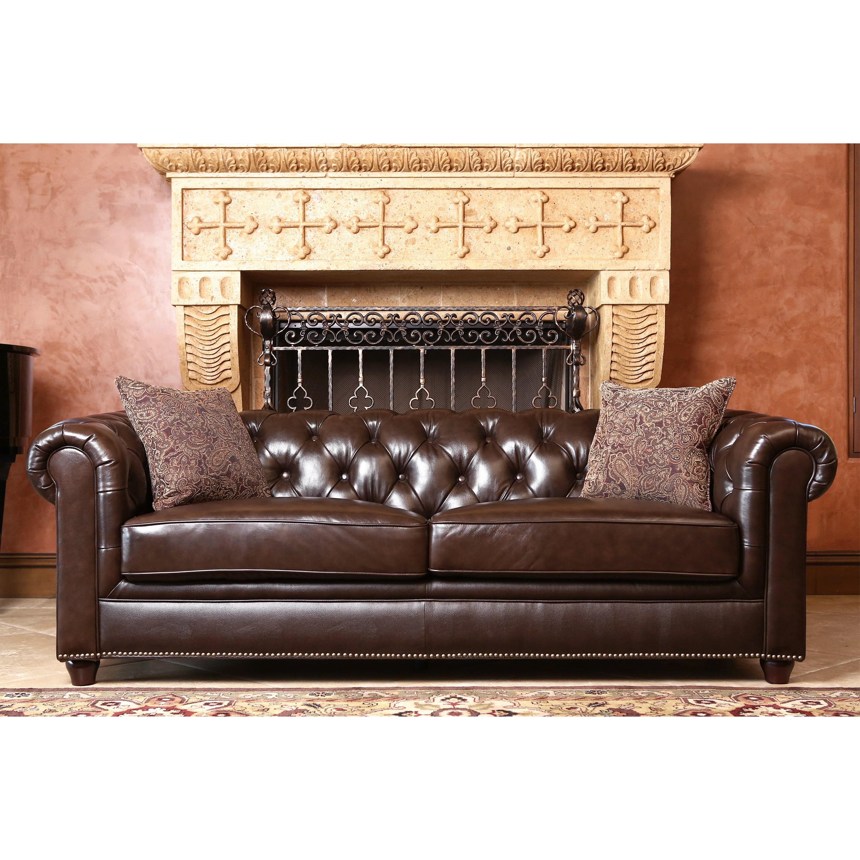 Shop Abbyson Carmela Dark Brown Top Grain Leather Chesterfield Sofa ...