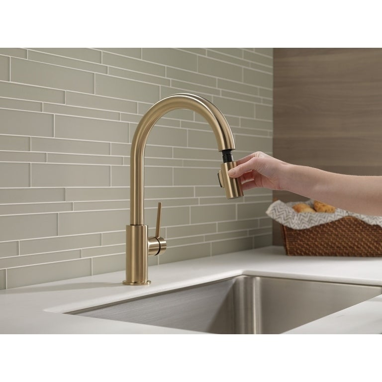 Shop Delta Trinsic Single Handle Pull-Down Kitchen Faucet 9159-CZ ...