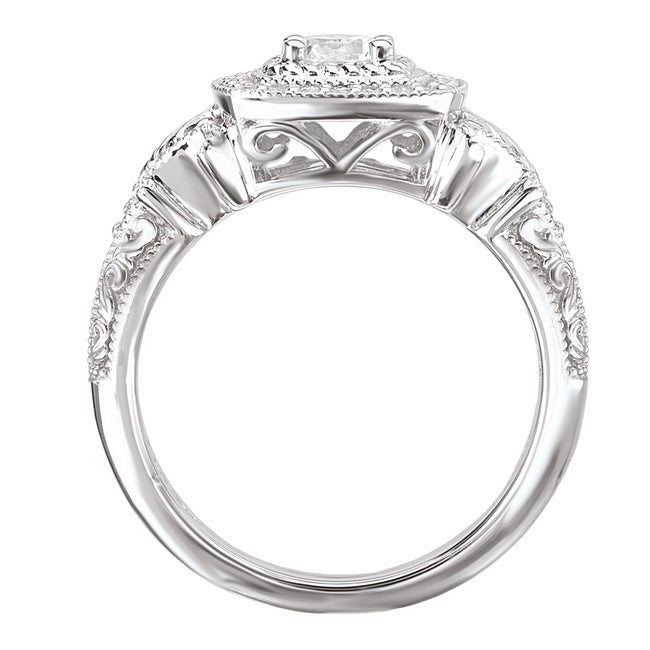 6b39aa50d10b7 Avanti 14k White Gold 1/2ct TDW Square Vintage Halo Diamond Ring with Rope  and Scroll Detail (G-H, SI1-SI2)