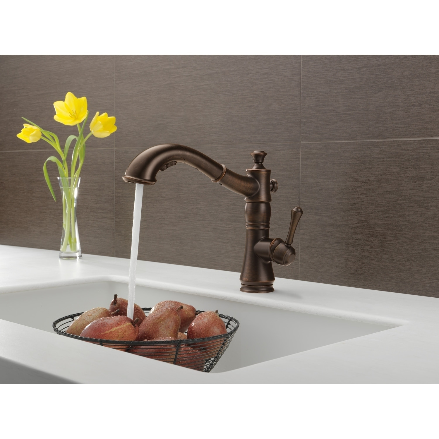 Shop Delta Cassidy Single Handle Pull Out Kitchen Faucet Venetian Bronze  Free Shipping Today Jpg 1500x1500