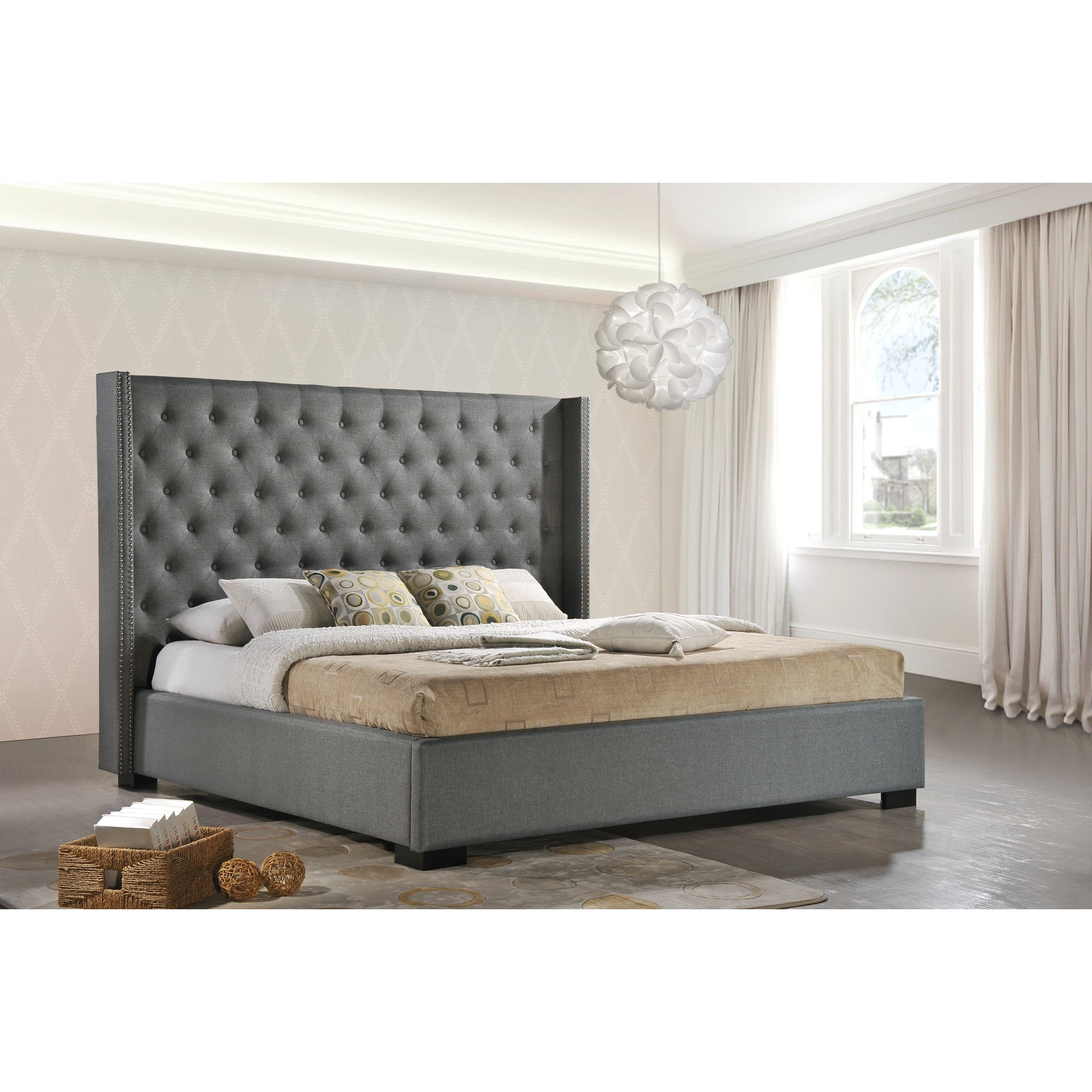 Shop luxeo newport wingback tufted contemporary upholstered king size bed in grey fabric free shipping today overstock com 9541783