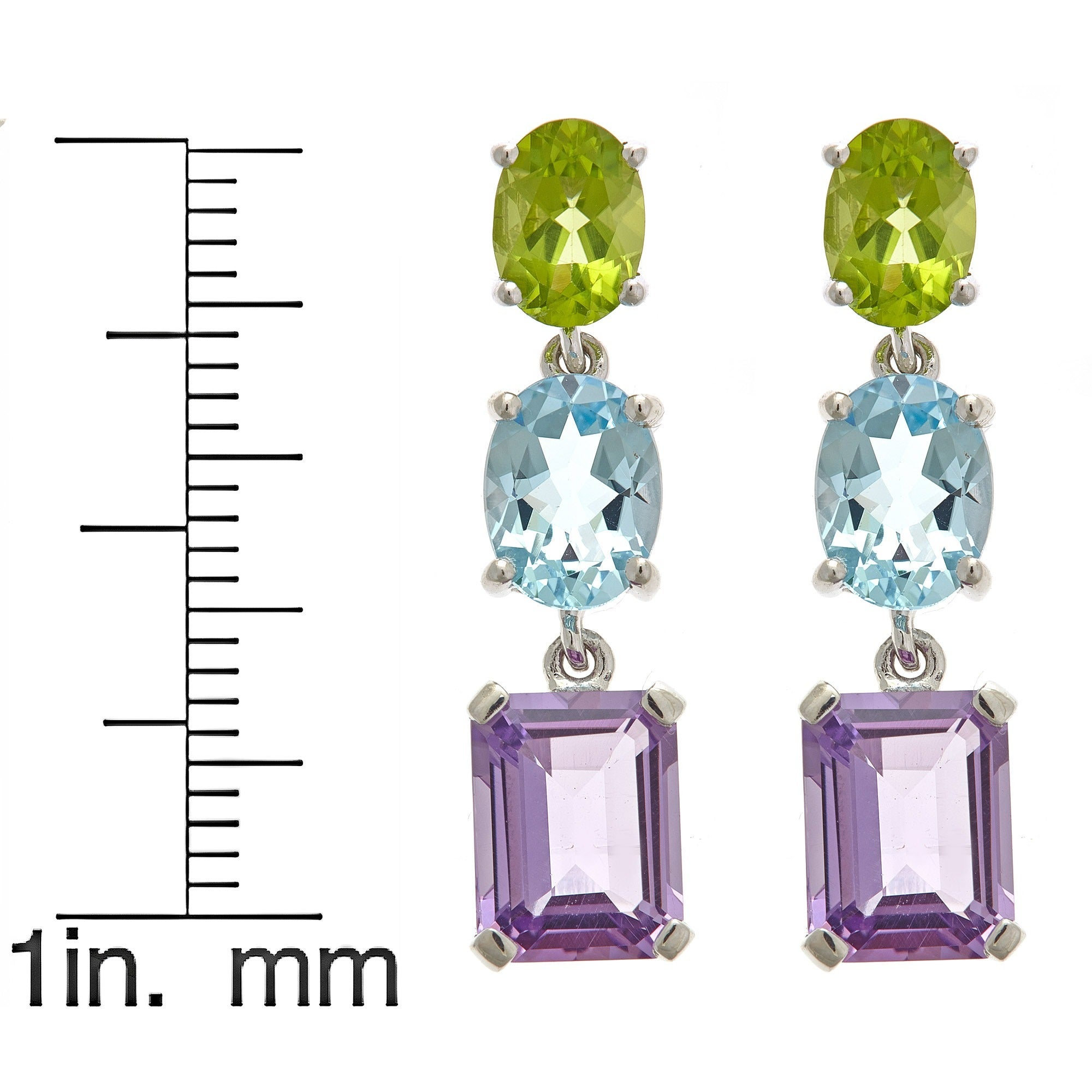 Sterling Silver Multi Colored Gemstone Earrings On Free Shipping Today 9541908