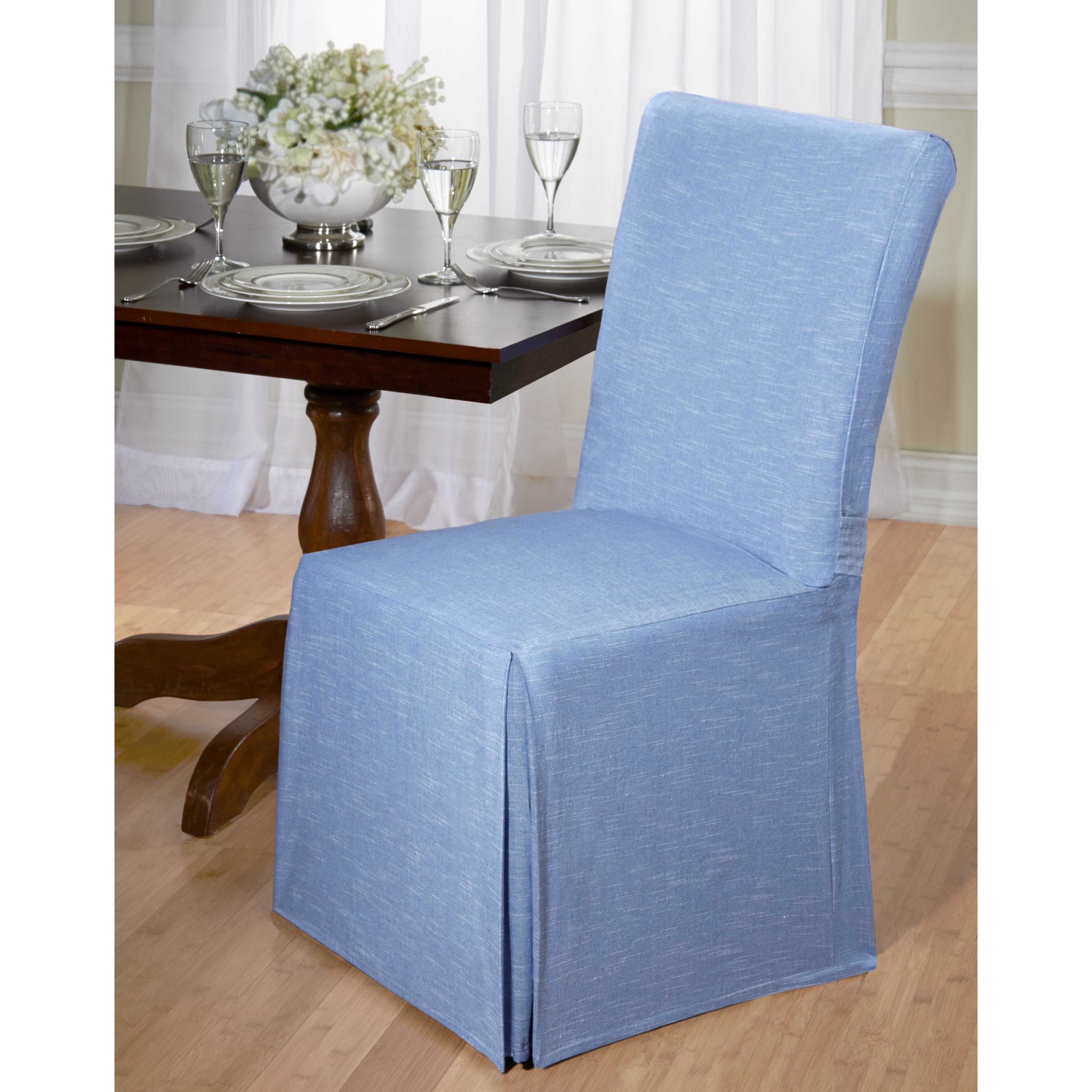 Exceptional Shop Chambray Cotton Dining Chair Slipcover   Free Shipping On Orders Over  $45   Overstock.com   9543510