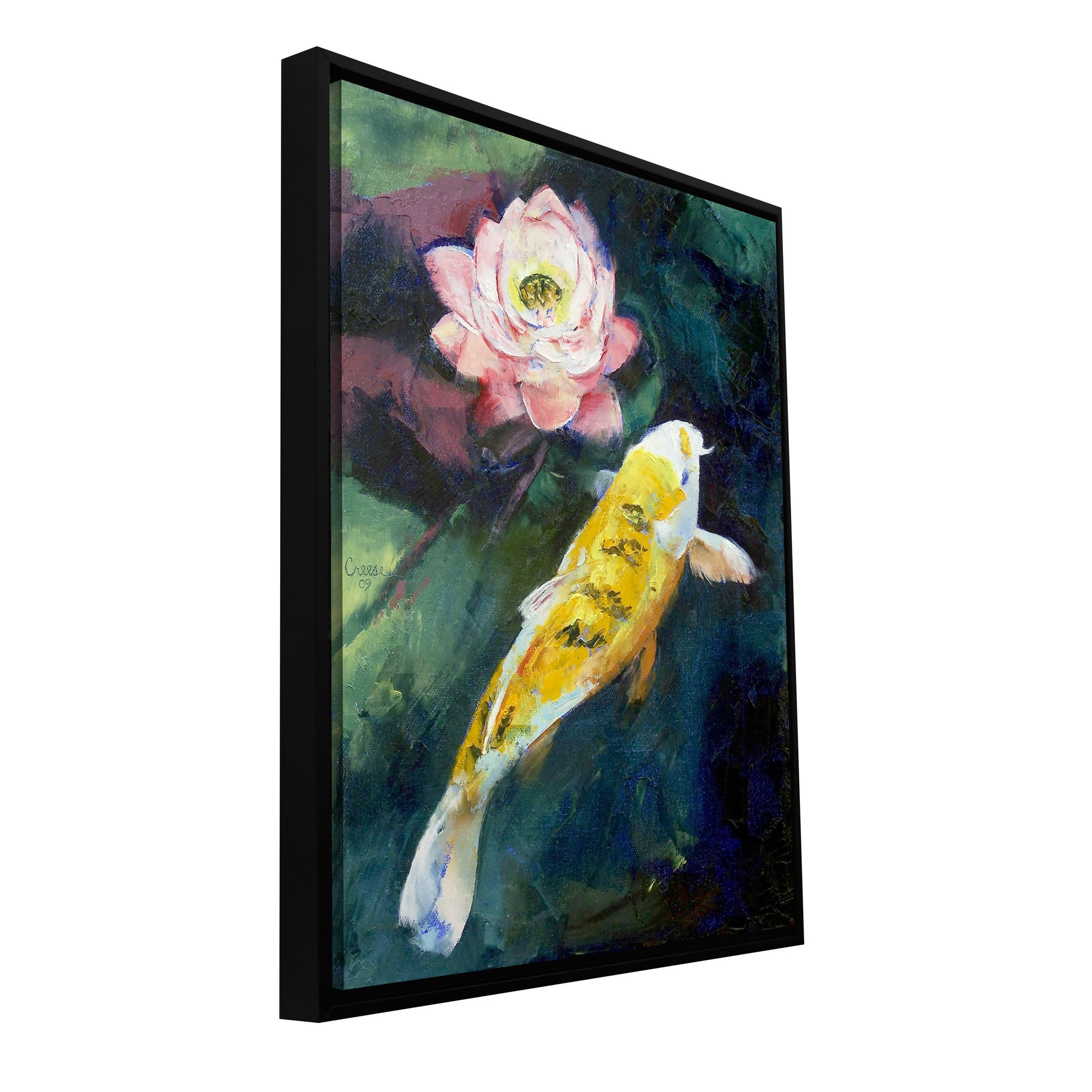 Michael Creese Koi And Lotus Flower Floater Framed Gallery Wrapped