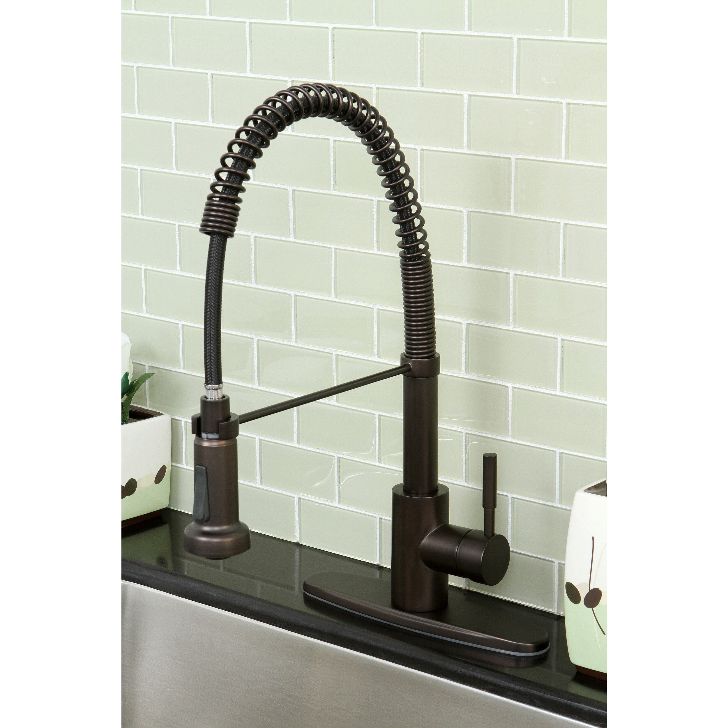 Modern Oil Rubbed Bronze Spiral Pull-down Kitchen Faucet - Free ...