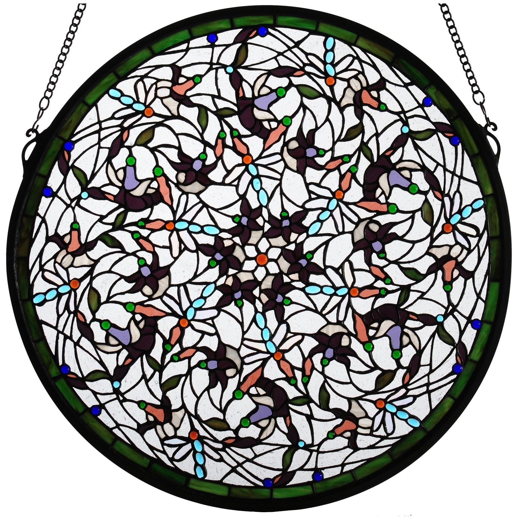 medallion glass stained meyda window hex tiffany
