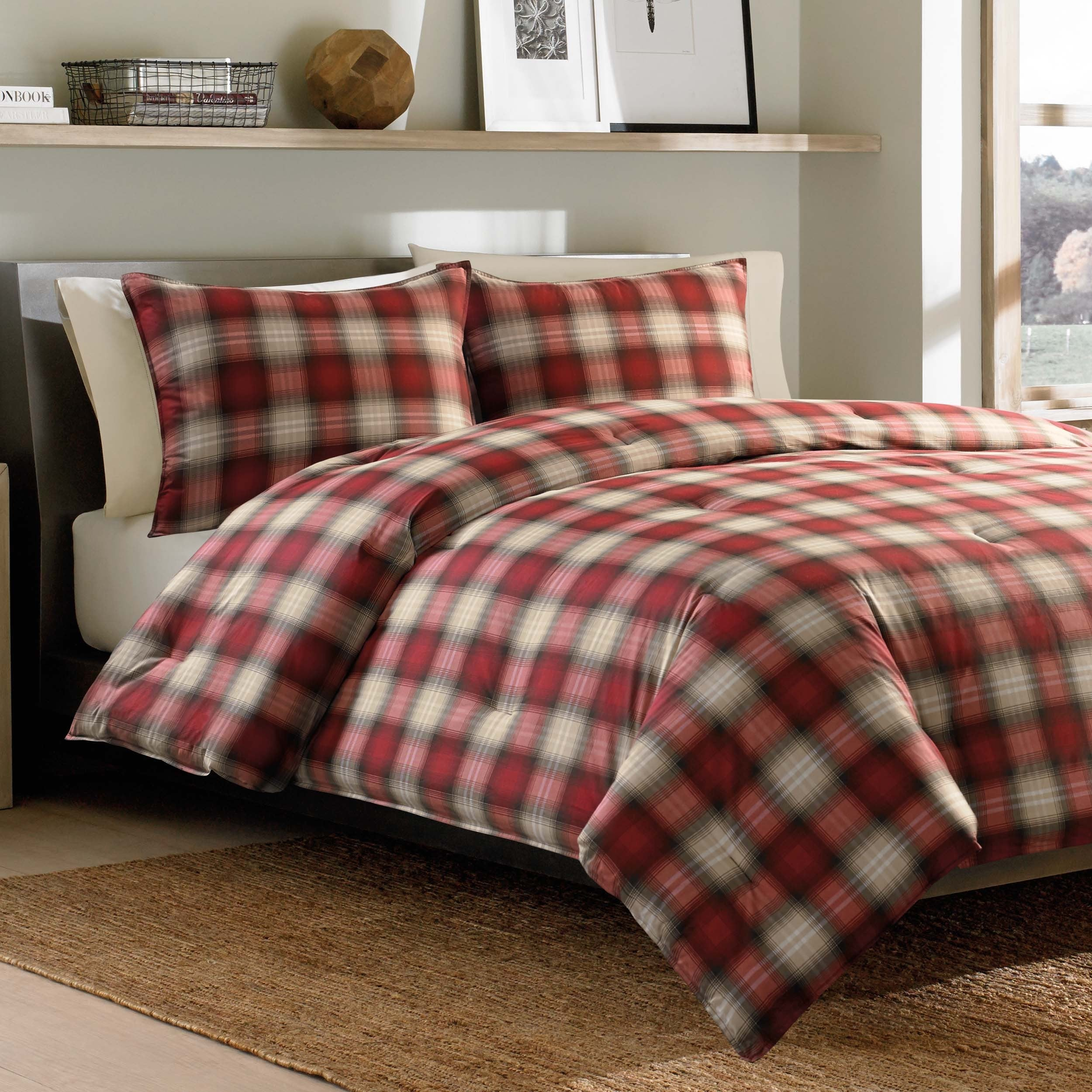 buffalo duvet red bean free flannel plaid l at shipping cover bedding ultrasoft comforter pin