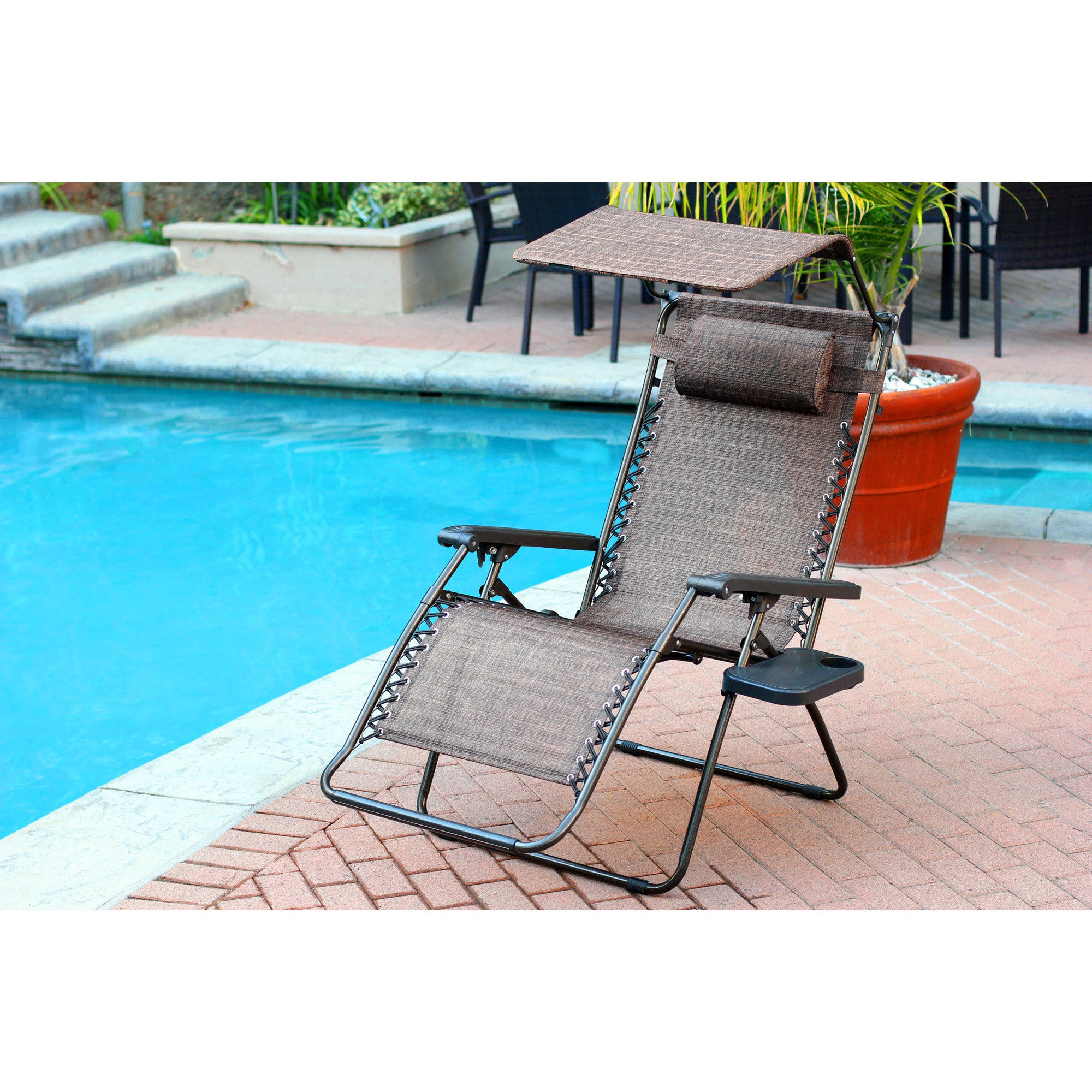 with chair zero garden free home oversized tray shipping overstock lounge and product chaise today gravity brown finish sunshade drink