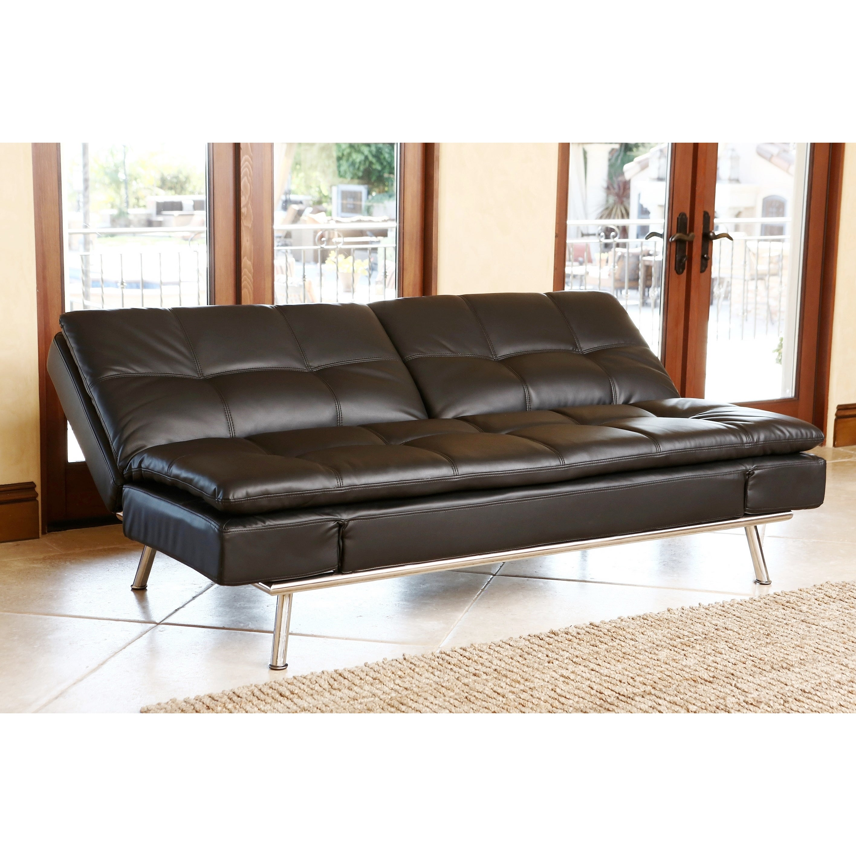 Shop Abbyson Marquee Black Convertible Sofa   On Sale   Free Shipping Today    Overstock.com   9552449