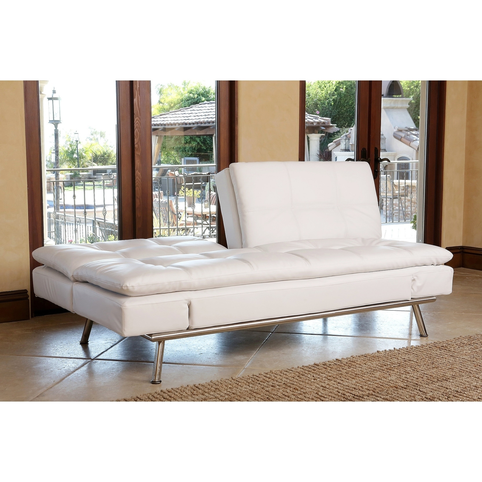Merveilleux Shop Abbyson Marquee White Convertible Sofa   On Sale   Free Shipping Today    Overstock.com   9552452