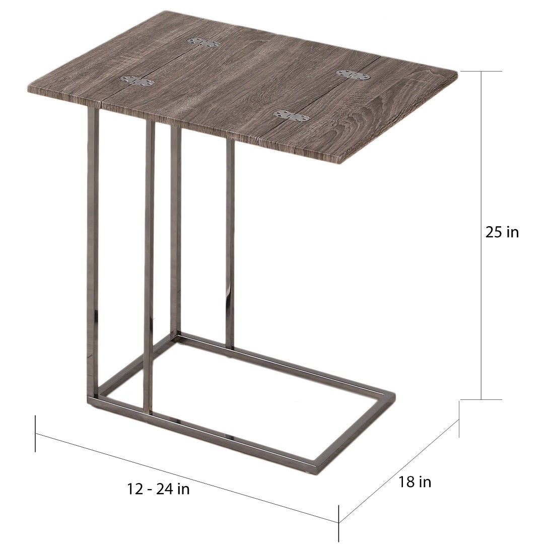 Shop Weathered Grey Finish Expandable Side End Table   Free Shipping Today    Overstock.com   9555040
